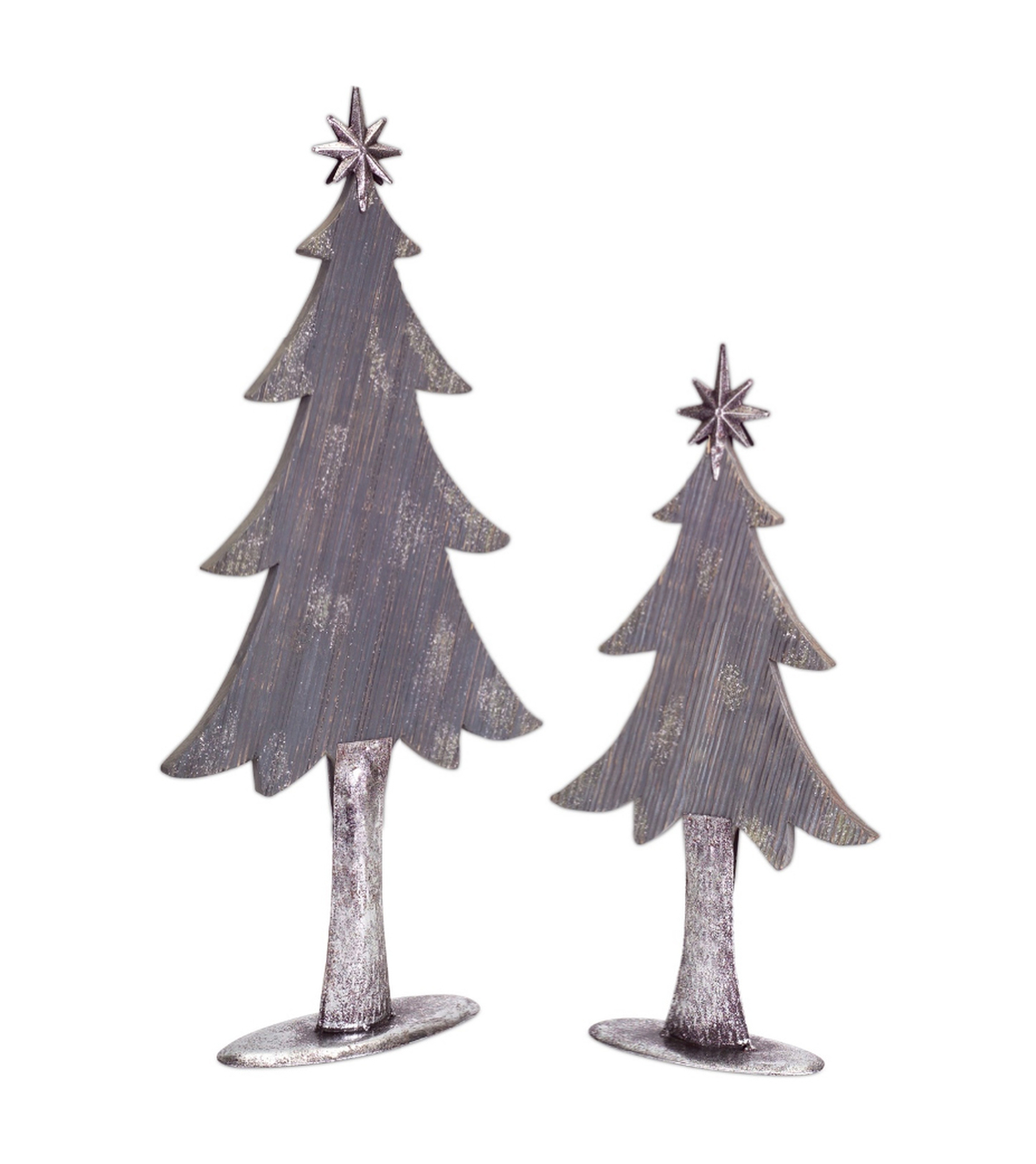 set of 2 gray and silver colored christmas tree tabletop pieces 27 32242174
