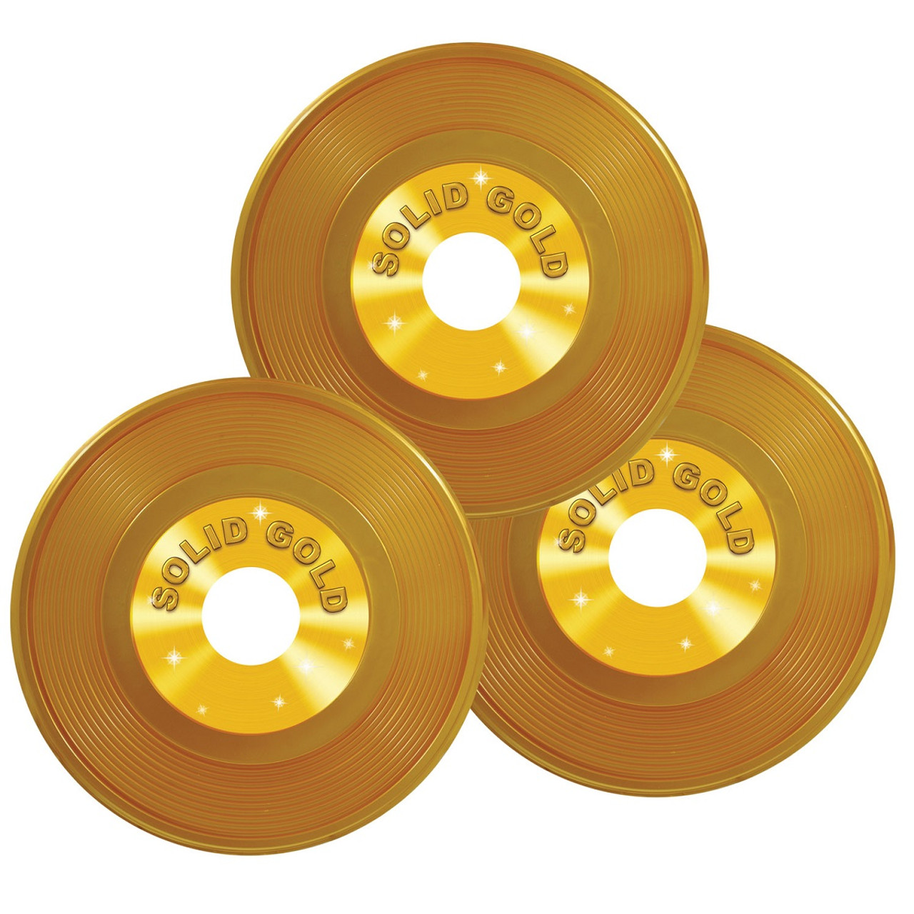 Club Pack of 36 Gold Rock & Roll 50\'s Plastic Record Party ...