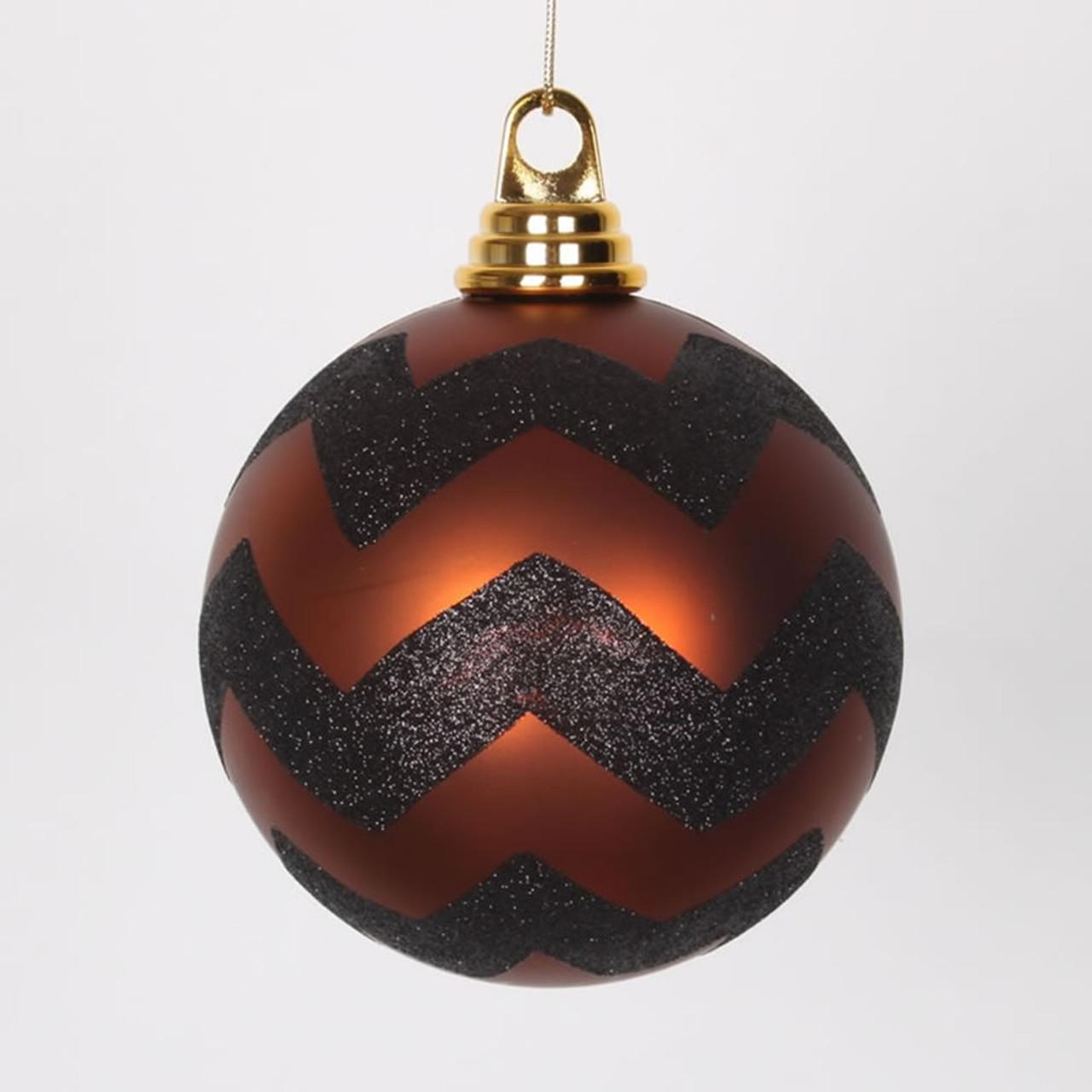 copper matte and black glitter chevron shatterproof christmas ball ornaments 475 120mm 31464268