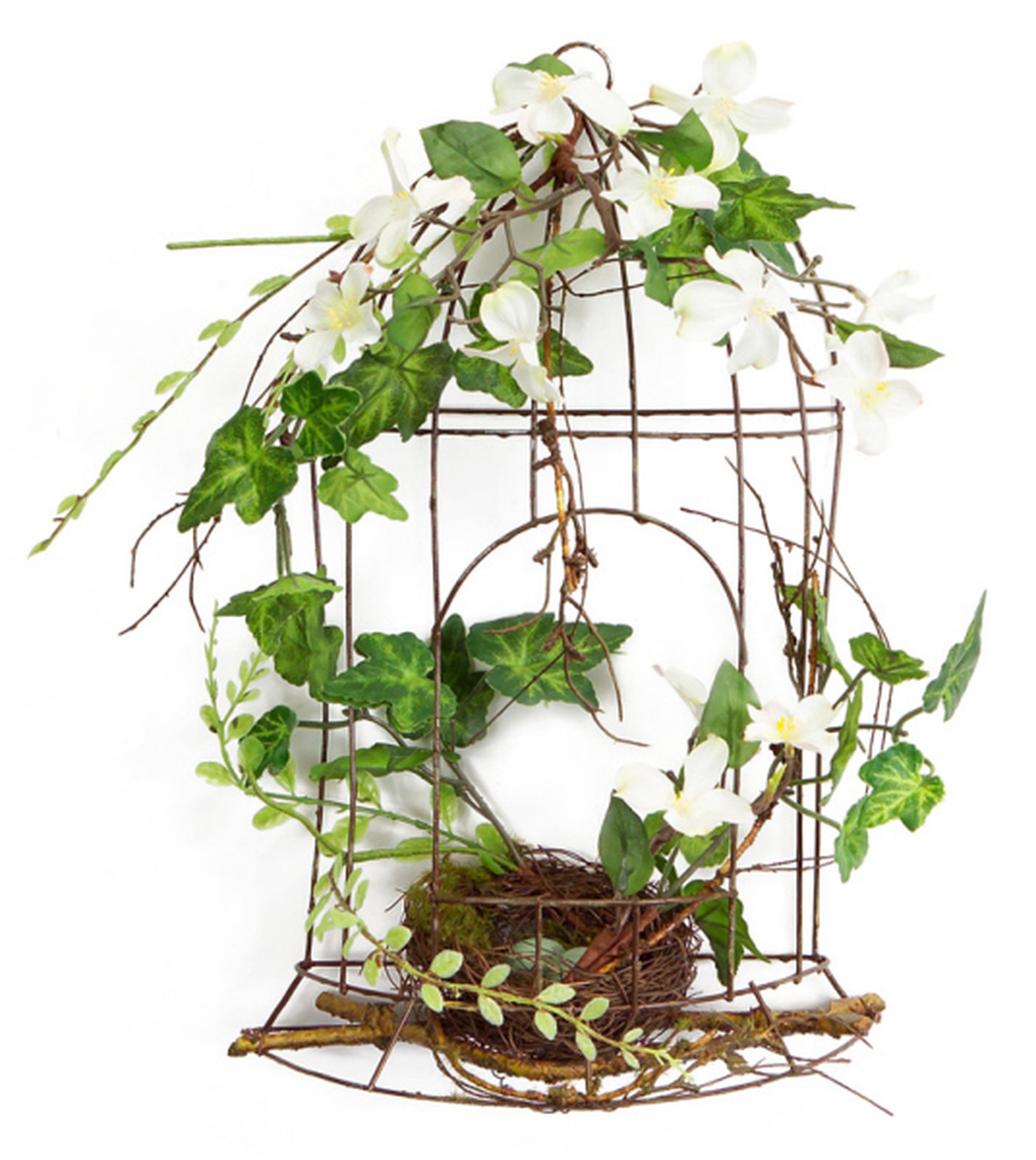 14 white artificial dogwood flowers and ivy table top birdcage decoration 31567006
