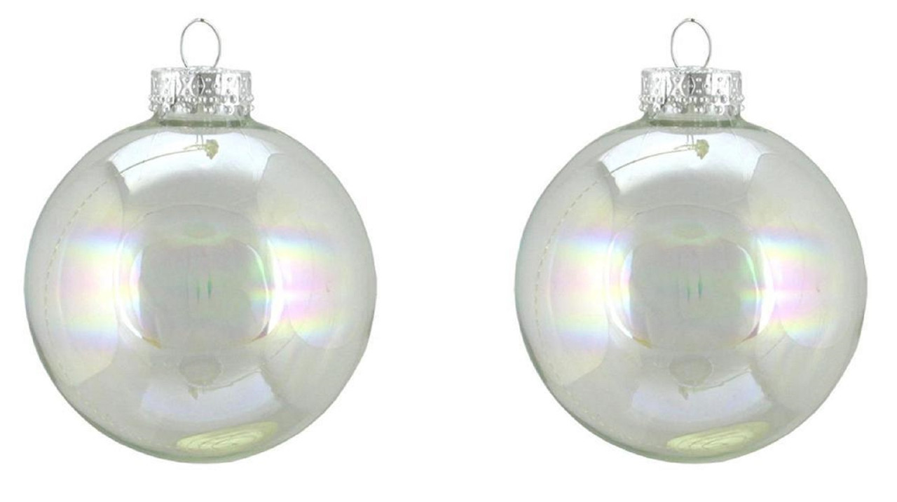 2ct Clear Iridescent Glass Ball Christmas Ornaments 4\