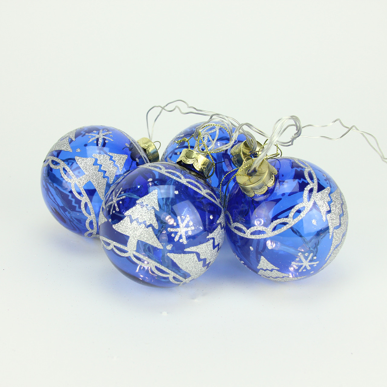 set of 4 battery operated blue glass ball led lighted christmas ornaments 31464199