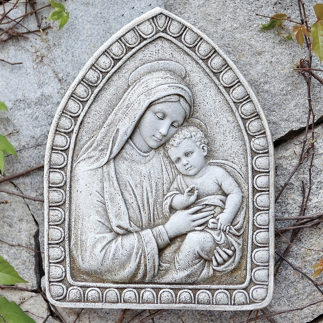 1625 josephs studio madonna and child religious outdoor wall plaque decoration 32013911