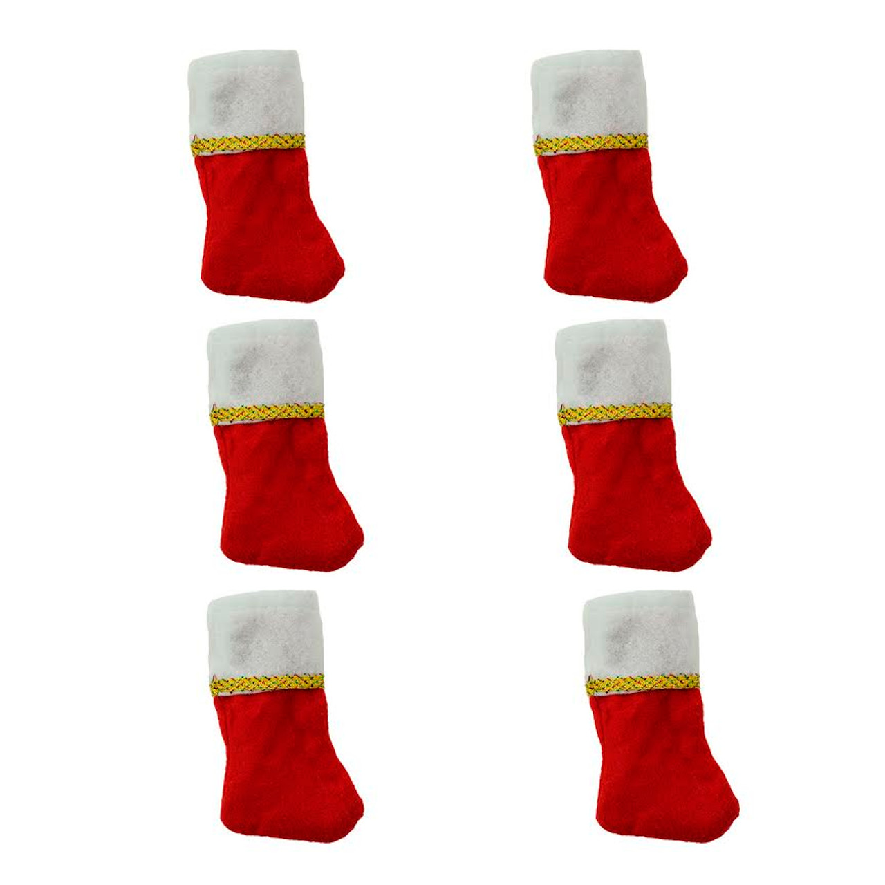 Pack of 6 Traditional Mini Christmas Stockings with Gold Glitter Pen ...