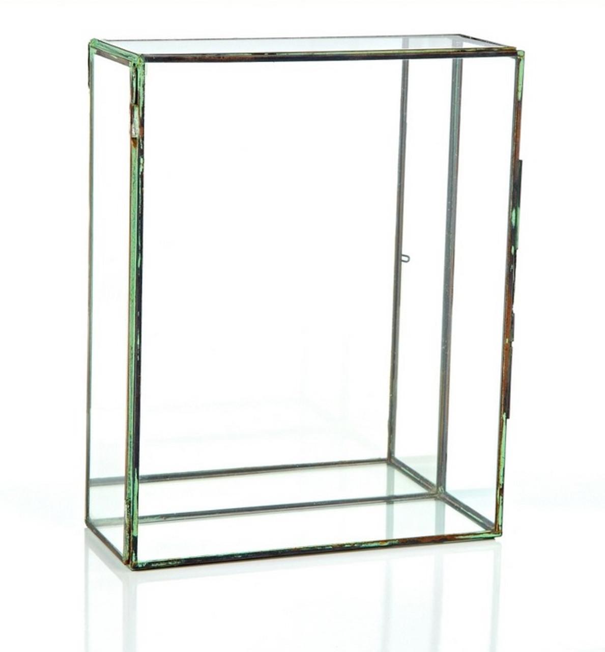 10 Table Top Rectangular Glass Terrarium With Mirror And Hinged Door 31517824