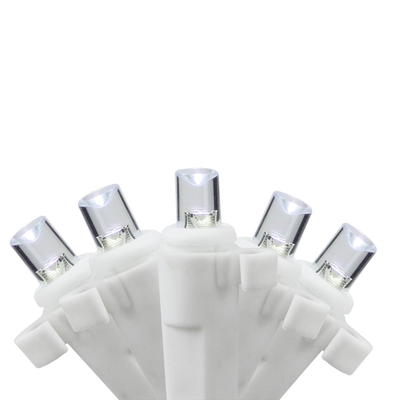 Set of 35 B/O Pure White LED Wide Angle Icicle Christmas Lights ...