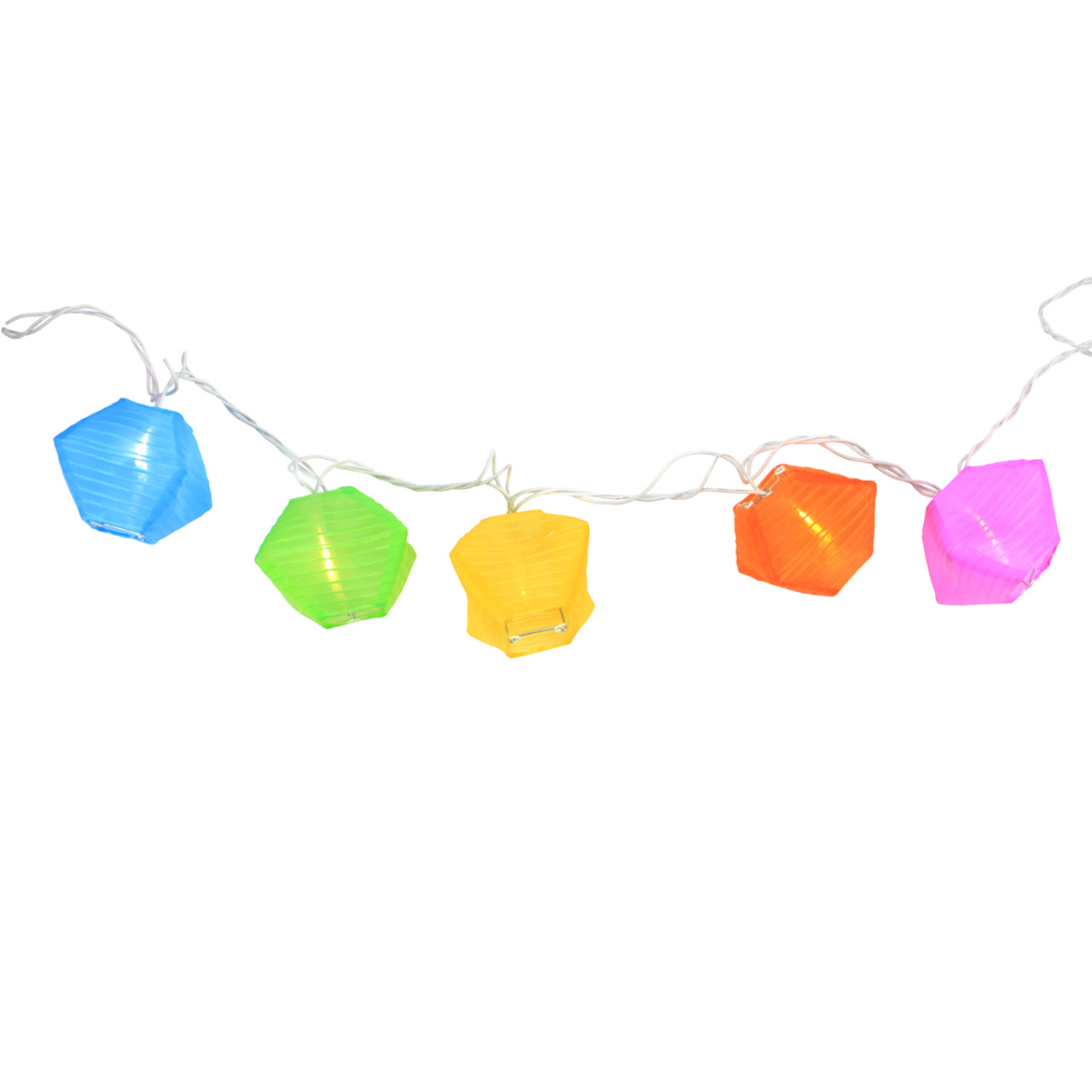 set of 10 multi color diamond chinese lantern patio and garden novelty christmas lights white wire 32208252