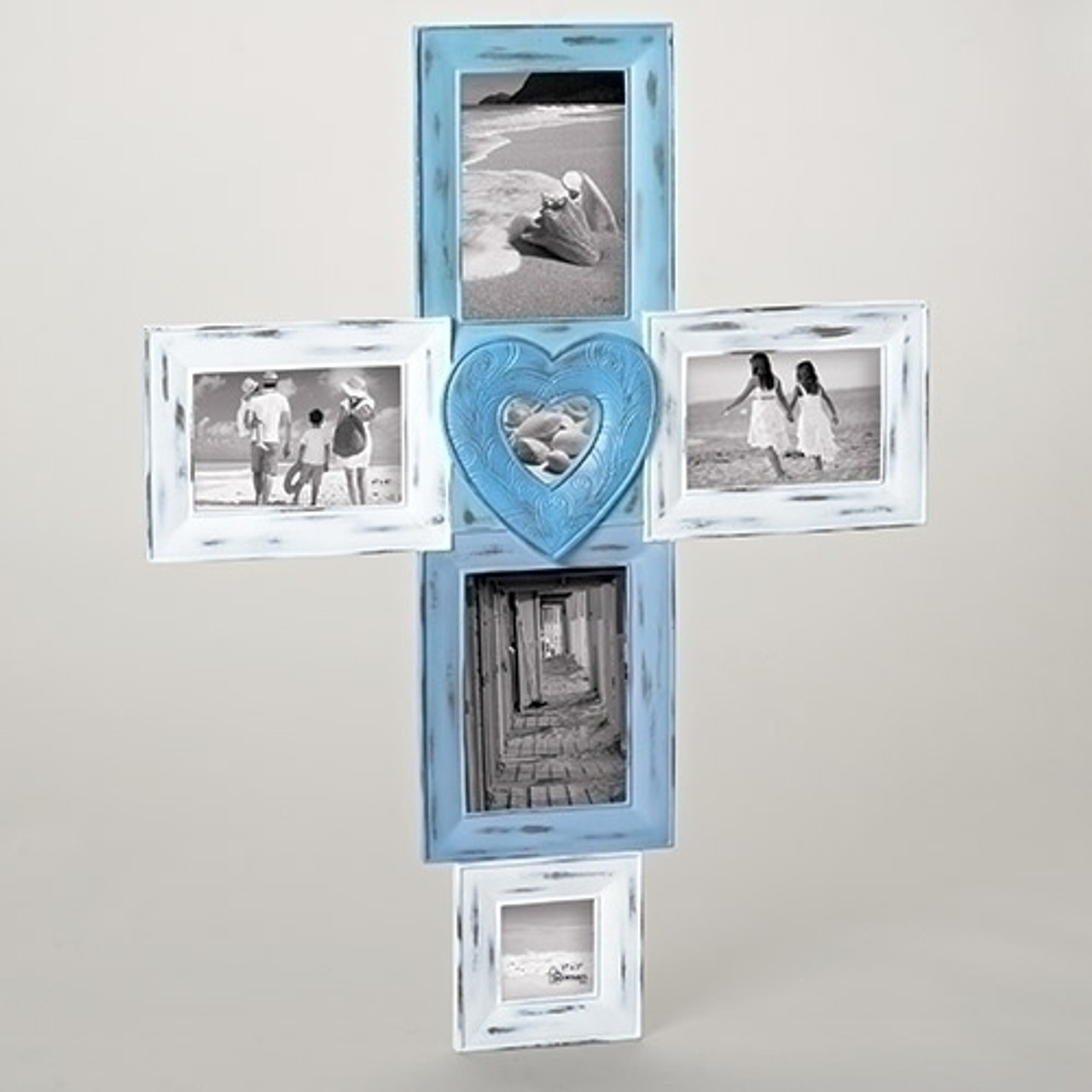 2675 Weather Finished Blue White Photo Picture Frame Cross