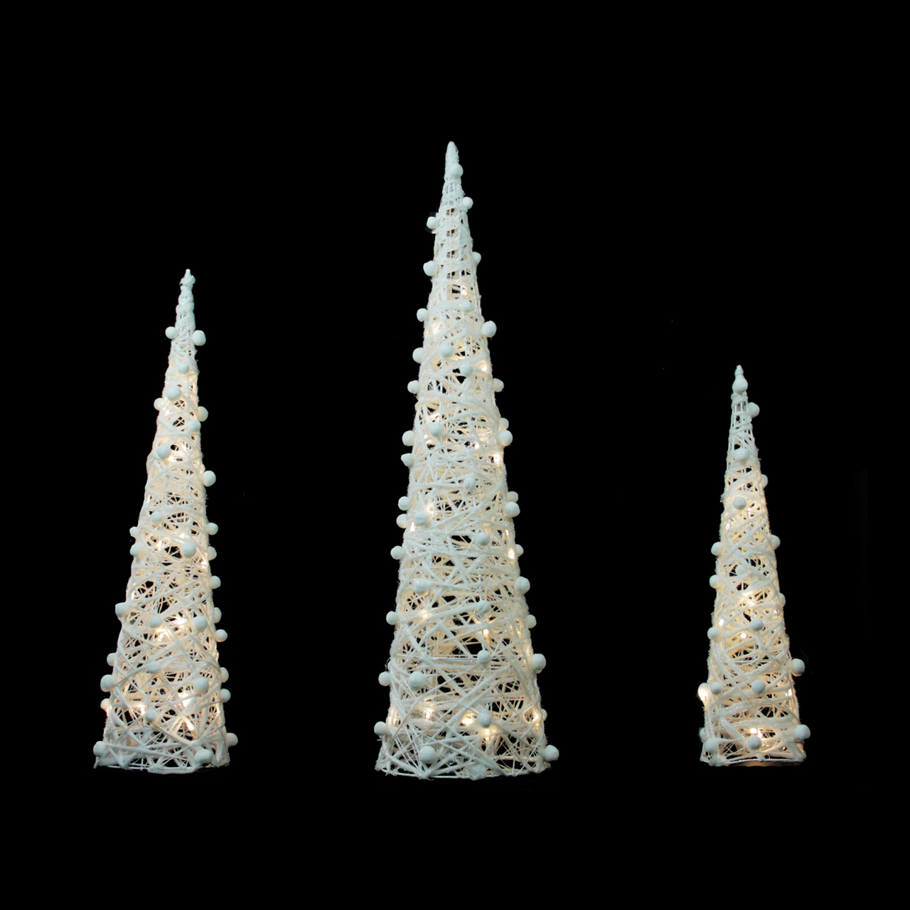 set of 3 battery operated white and silver glittered led lighted cone tree christmas decoration 3925 31749074