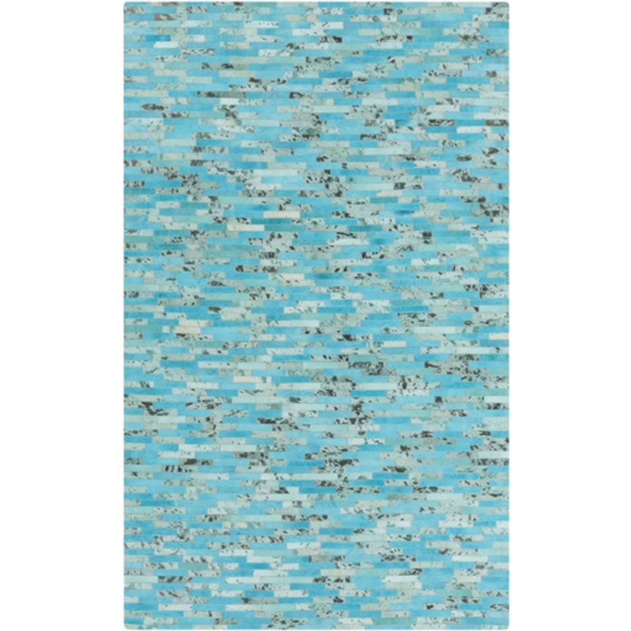 5' X 8' Abstract Ambiance Aqua Blue & Blue Green Leather