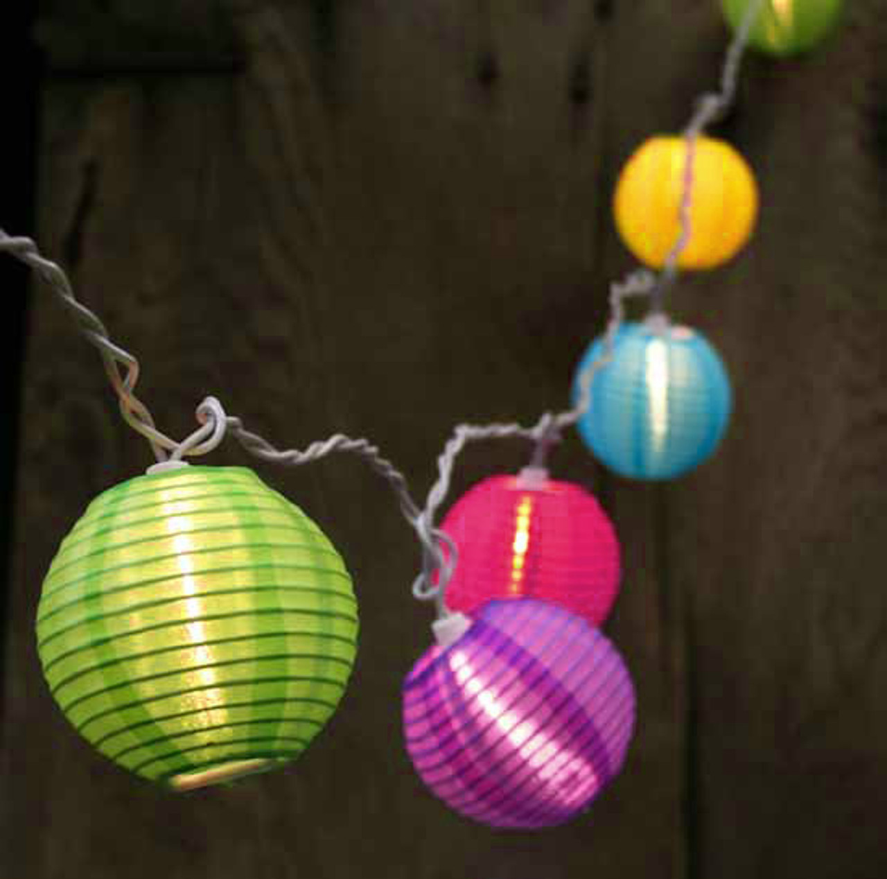 set of 10 bright and colorful round chinese lantern patio lights white wire 30921343