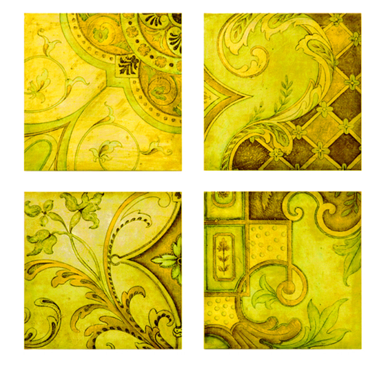 Set of 4 Bluish Green Square Antique Greek Style Wall Canvas ...