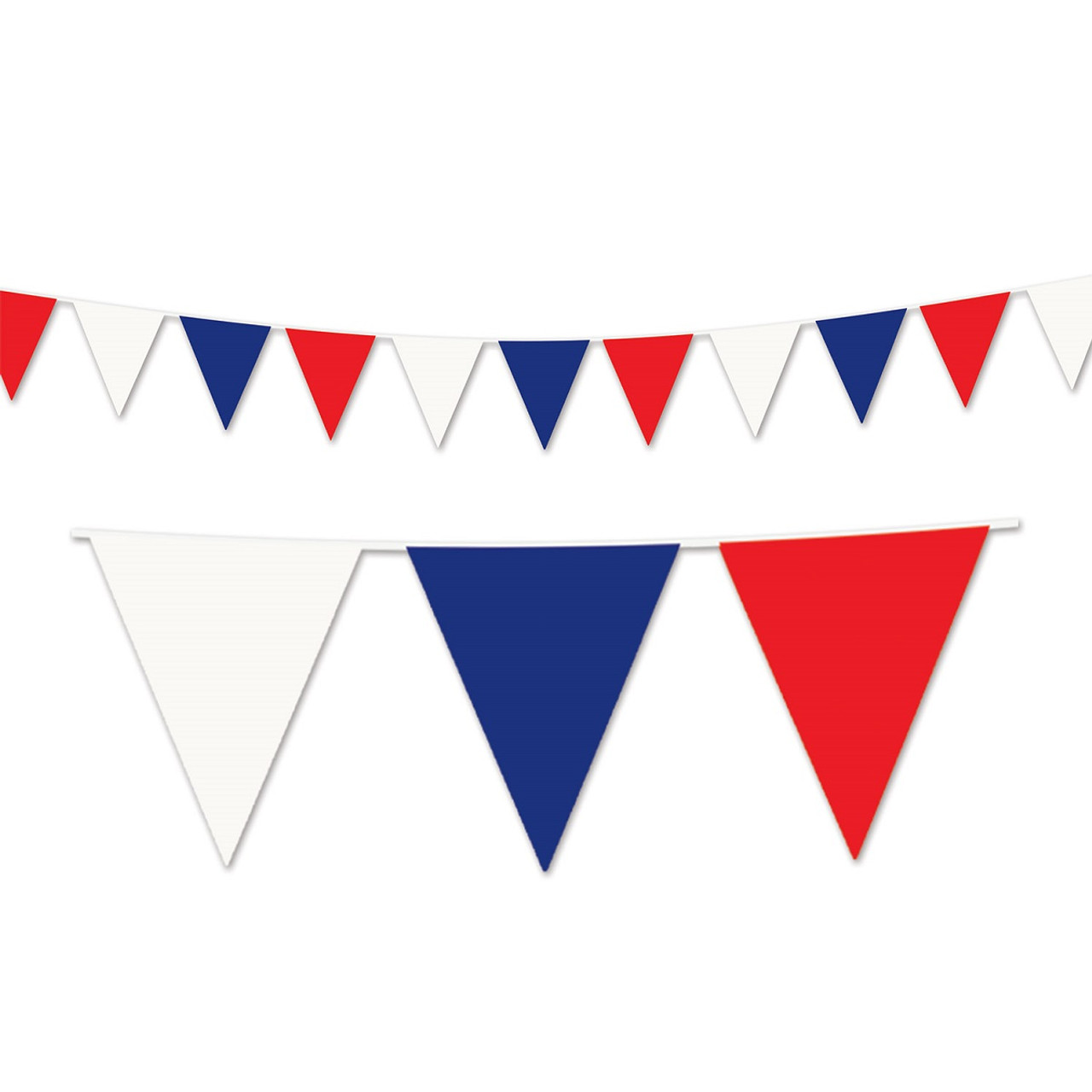 club pack of 12 red white and blue patriotic outdoor pennant banner hanging party decorations 120 31563158