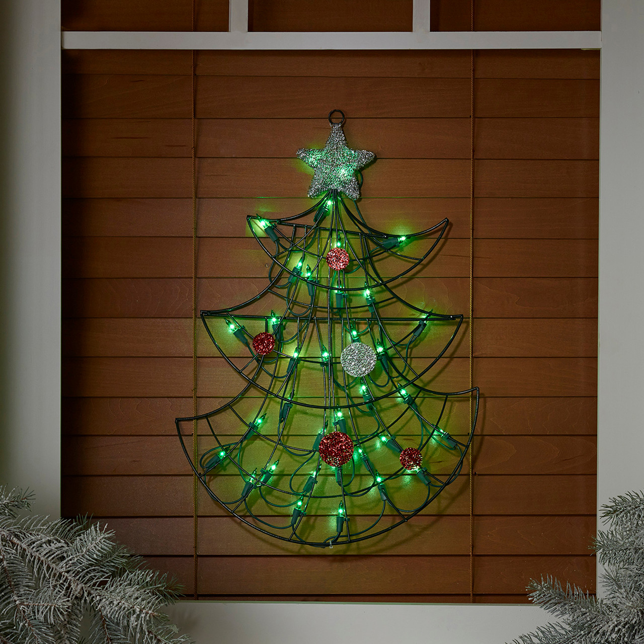 19 lighted christmas tree with silver tinsel star window or wall 19 lighted christmas tree with silver tinsel star window or wall silhouette decoration 31728770 aloadofball Gallery