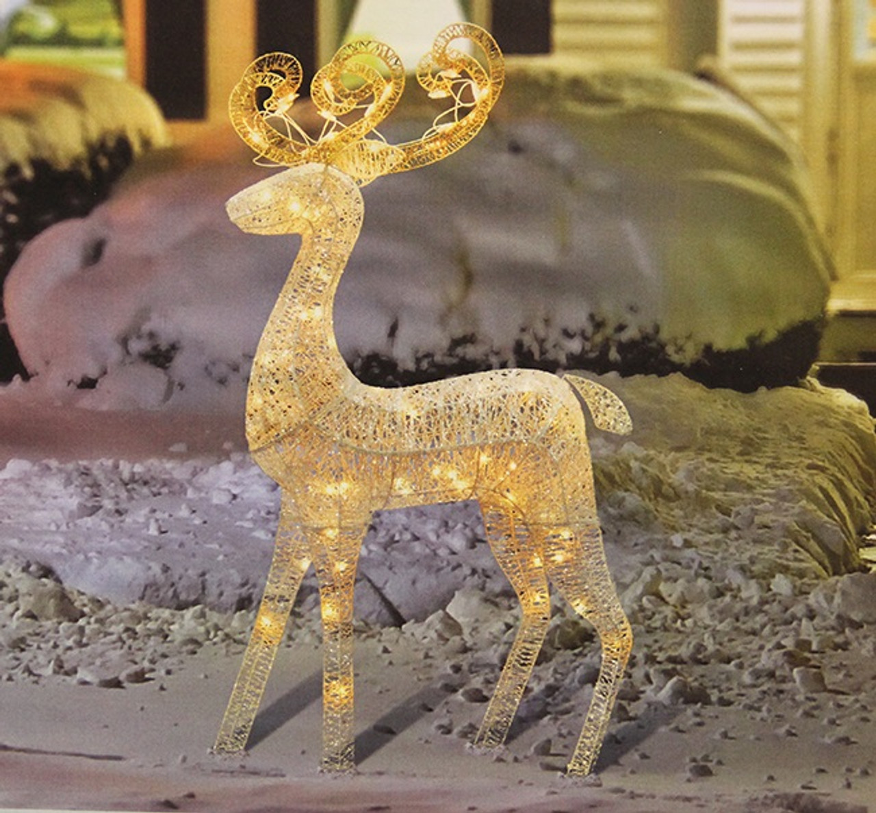 48 lighted white glitter standing buck christmas outdoor decoration 32267176