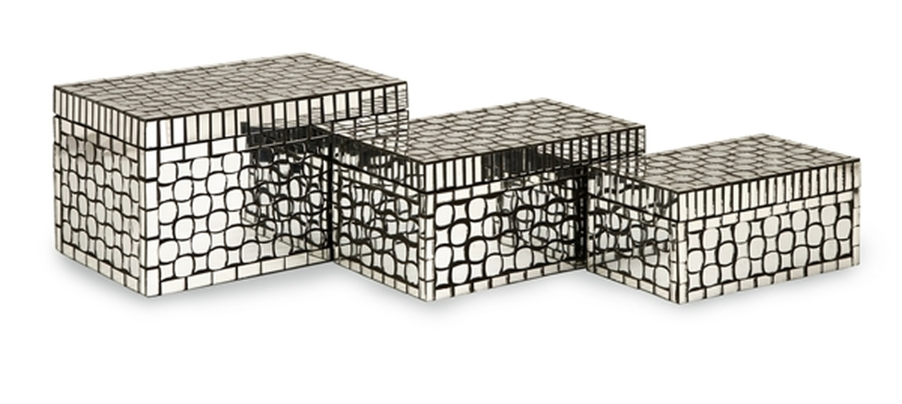 Set Of 3 Decorative Silver Glass Mirror Tiles Foley Mosaic Storage Boxes    28672069