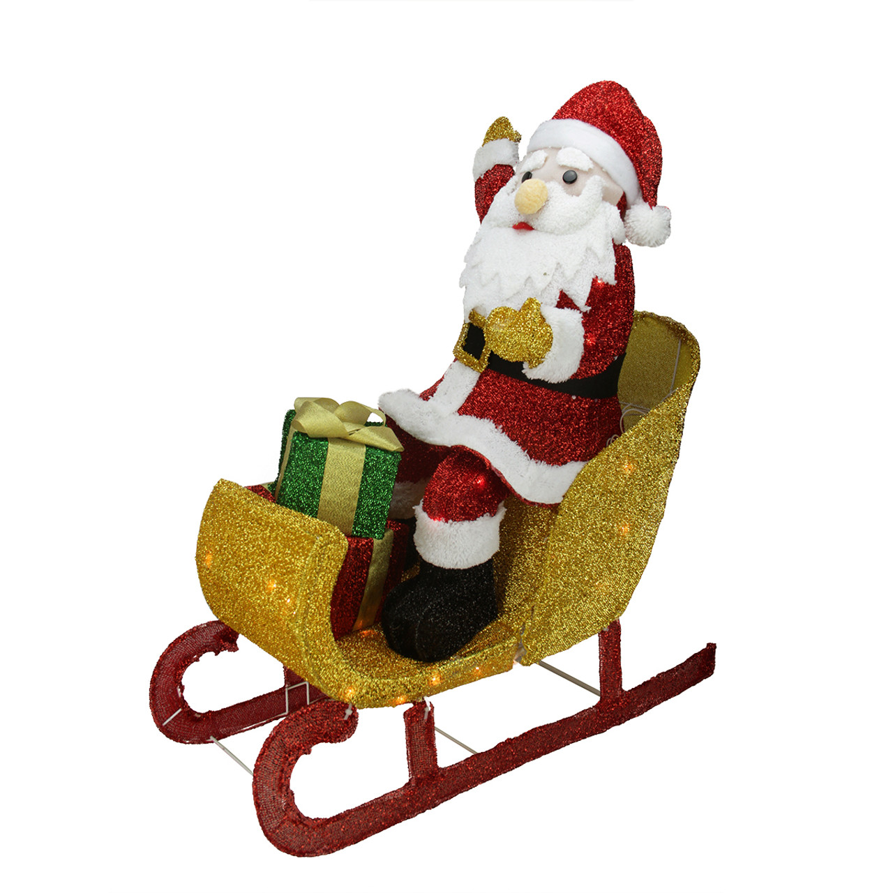 "29.5"" Lighted Tinsel Santa Claus in Sleigh Christmas ..."