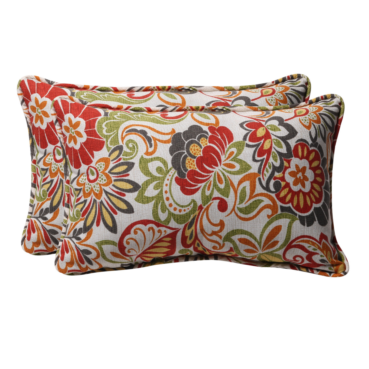 Set Of 2 Eco Friendly Rectangular Tropical Floral Outdoor Throw