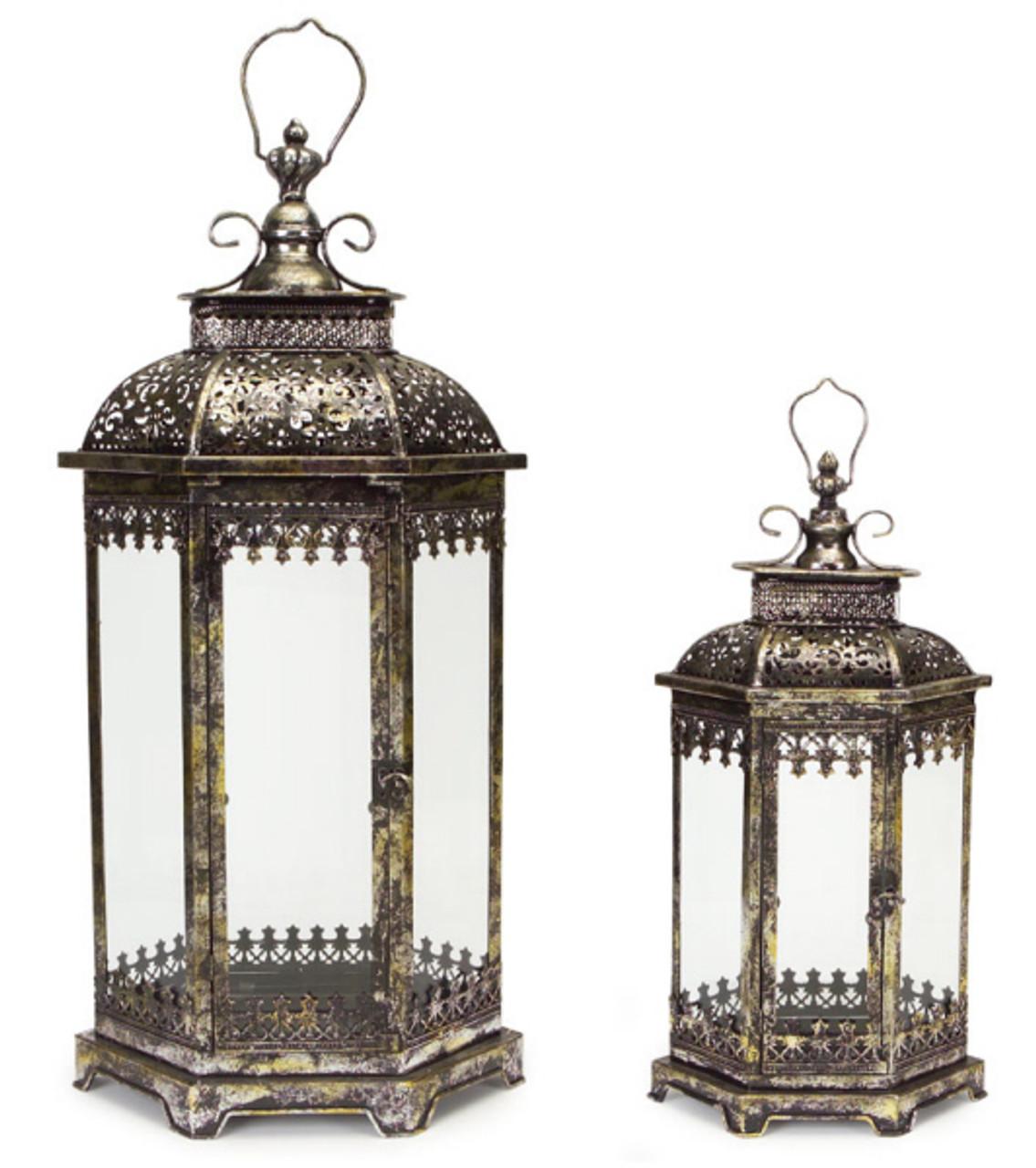 Set of 2 Antique Style Pewter Gray Decorative Glass Pillar ...