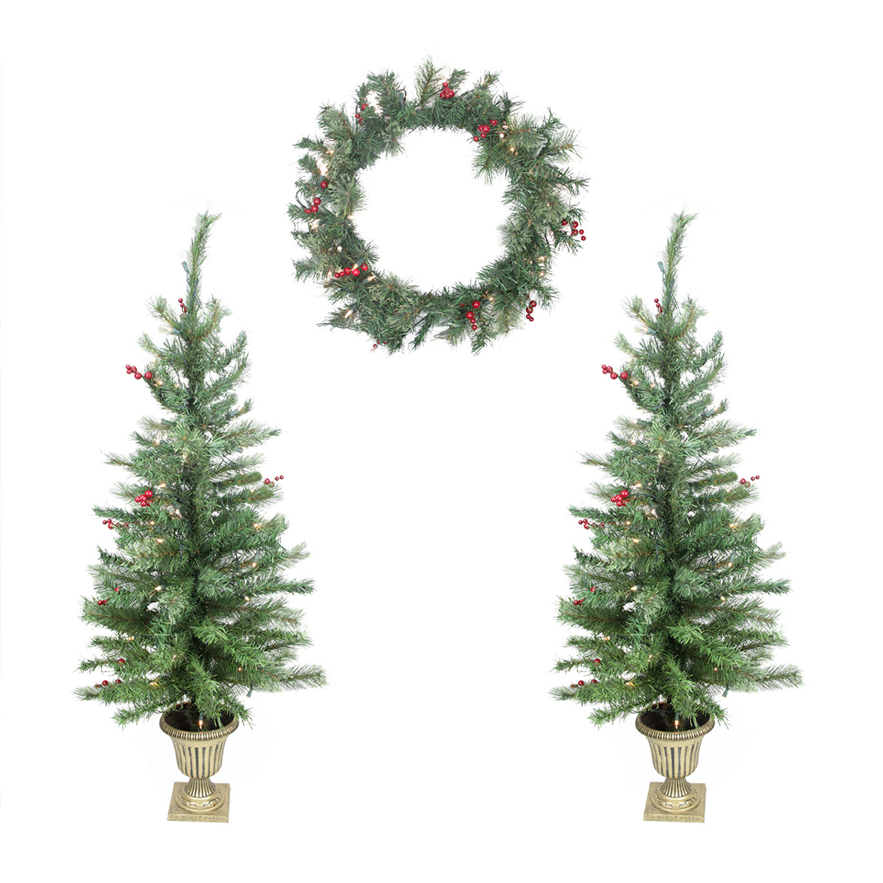 4-Piece Set Of Red Berry Pine Artificial Christmas Trees