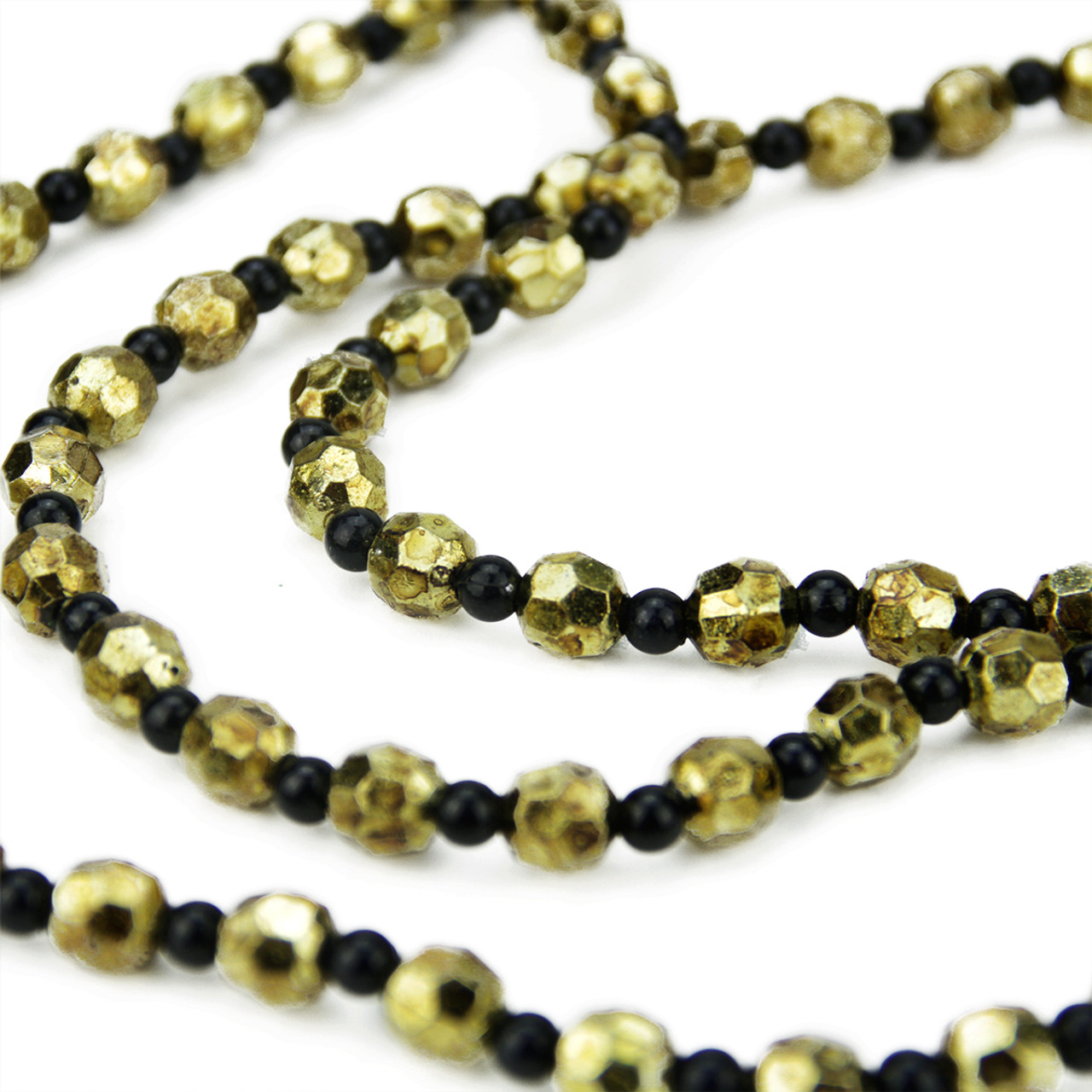 30 elegant contemporary style black and gold beaded christmas garland swag 31464606 - Beaded Christmas Garland