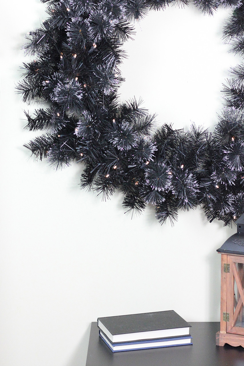 36 battery operated black bristle artificial christmas wreath warm white led lights 31742027