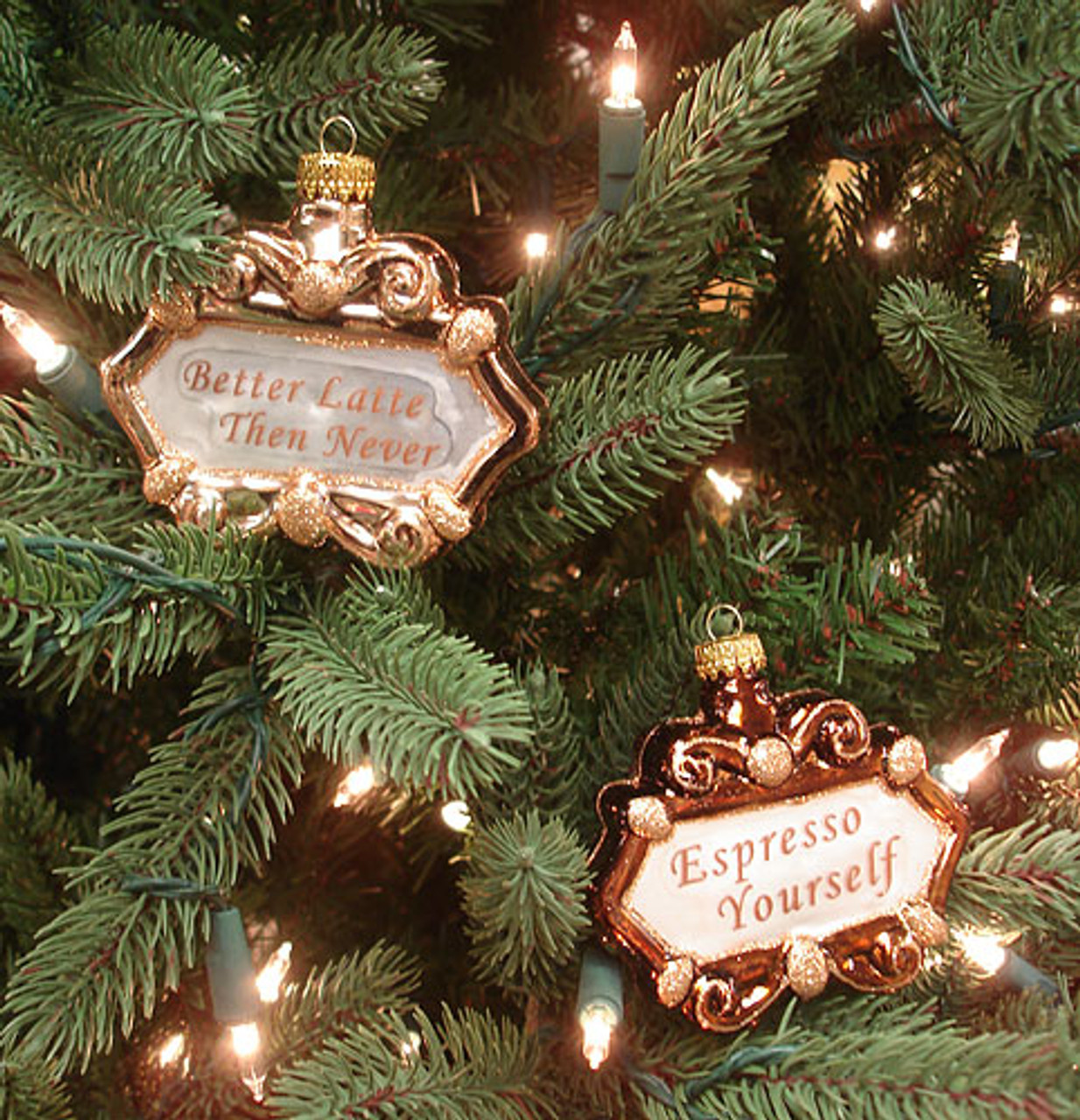set of 2 coffee lover idioms glass christmas ornaments 6522612 - Christmas Idioms