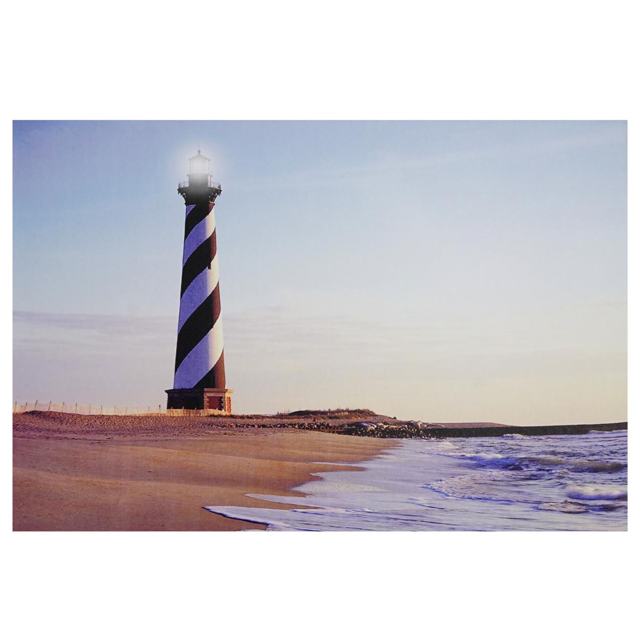 led lighted lighthouse seaside beach scene canvas wall art 15 75 x