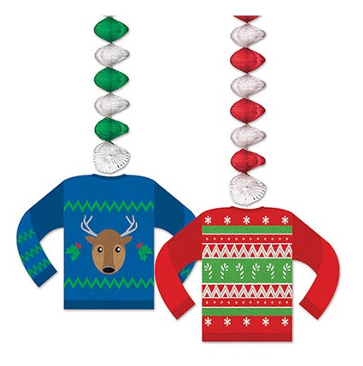 club pack of 24 ugly sweater dangler christmas hanging decorations 30 32146772 - Christmas Hanging Decorations