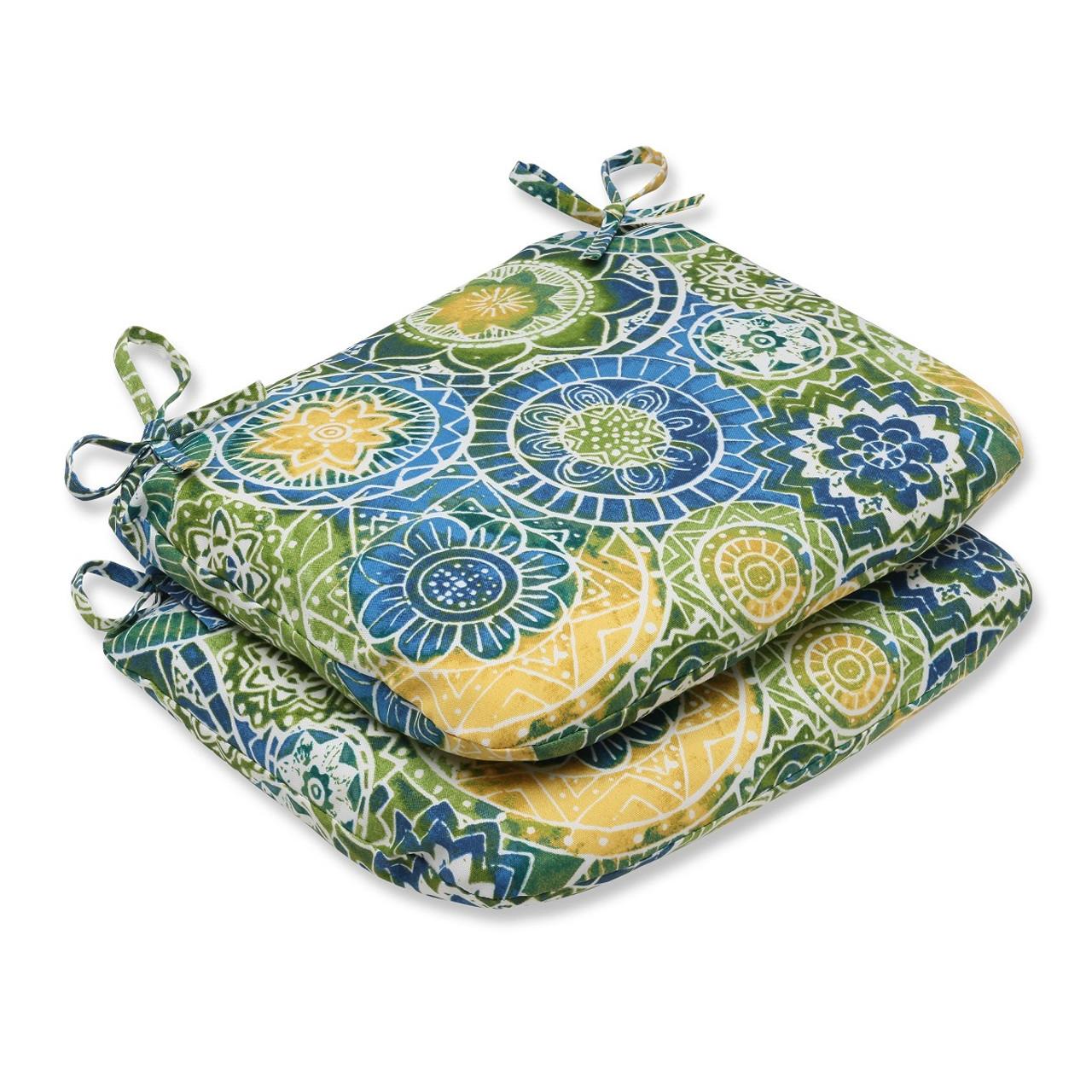 18 Round Patio Chair Cushions: Set Of 2 Laguna Mosaico Blue, Green & Yellow Outdoor Patio