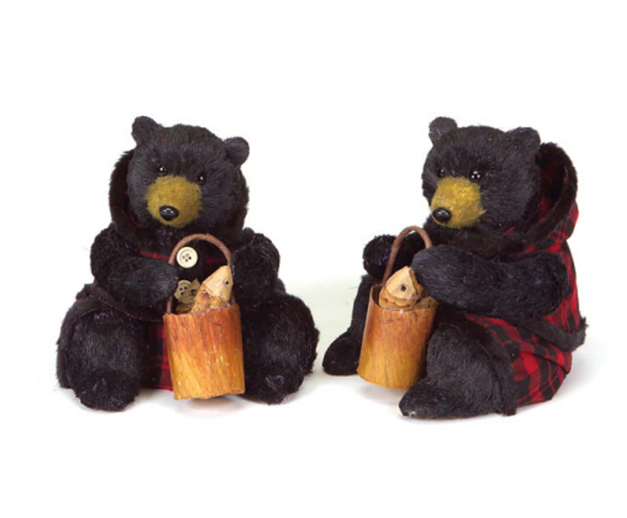 set of 2 rustic lodge sitting black bear christmas figures in red plaid 8 28365645
