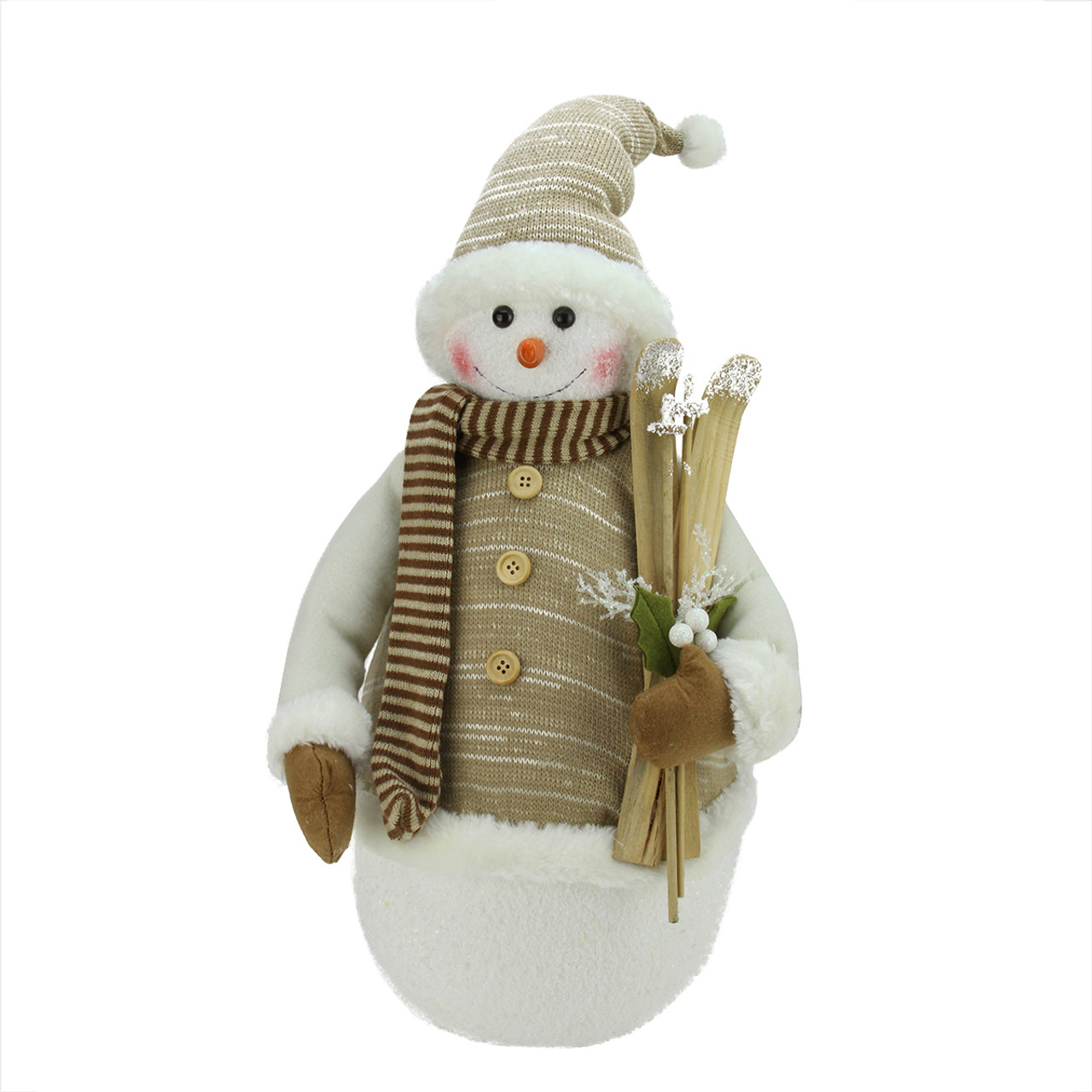 20 alpine chic brown beige snowman with skiis for Alpine decoration