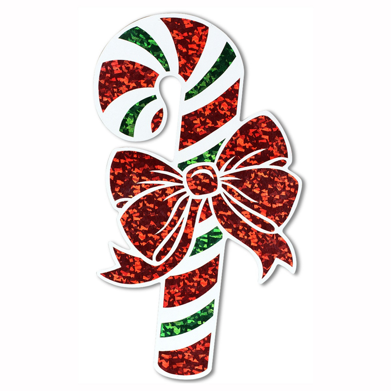 club pack of 12 prismatic green red and white candy cane cutout christmas decorations 16 31561809 - Cut Out Christmas Decorations