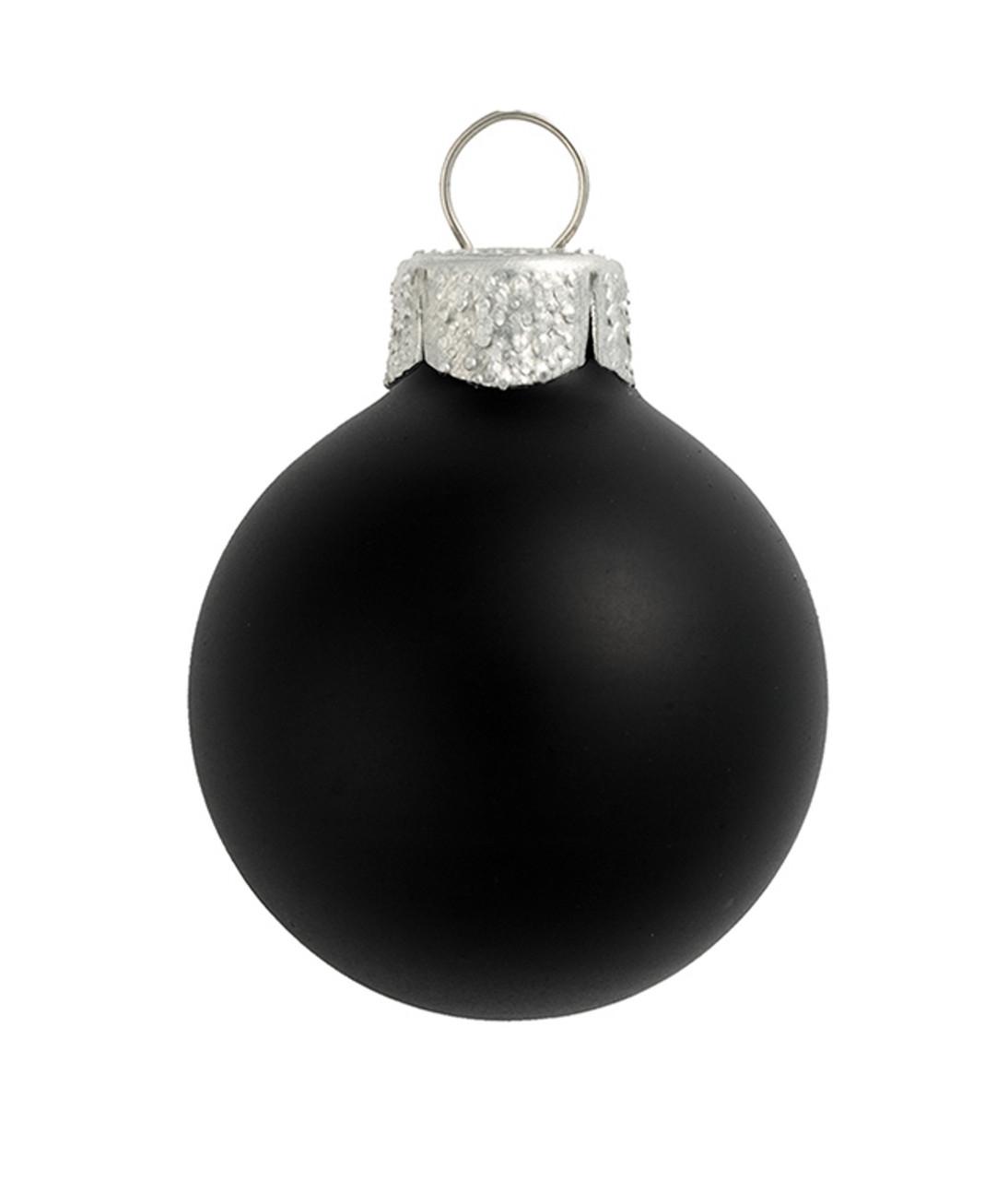 "28ct Matte Black Glass Ball Christmas Ornaments 2"" (50mm ..."