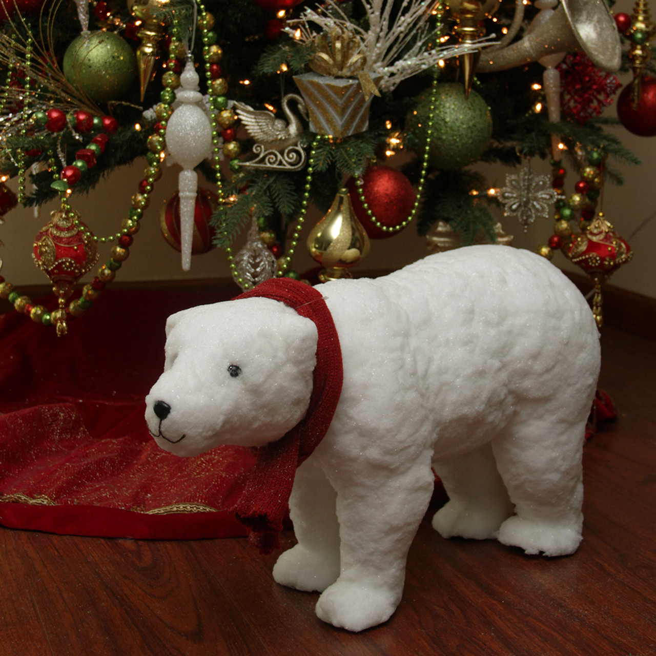 25 walking plush white polar bear christmas decoration 31463319