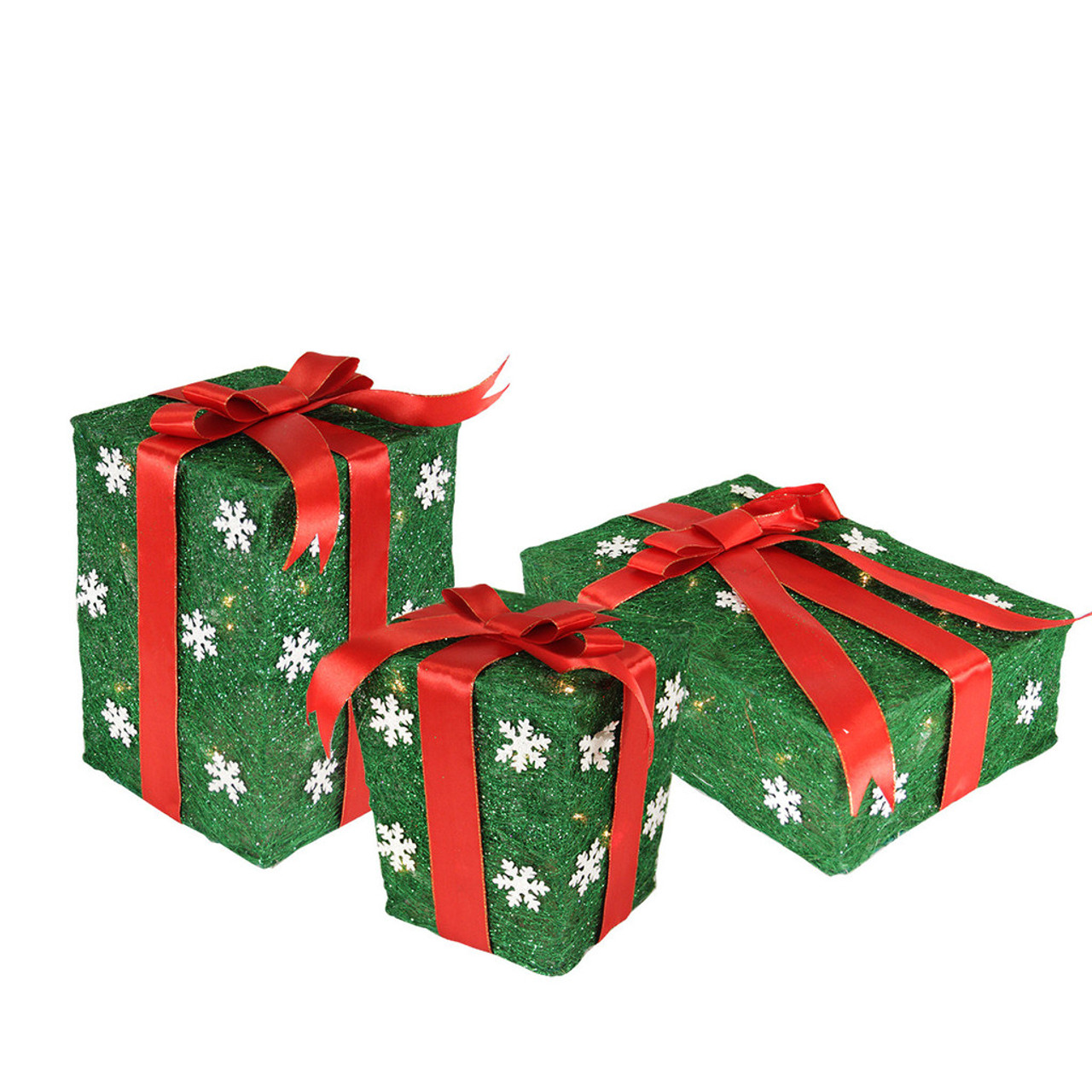 set of 3 green snowflake sisal gift boxes lighted christmas outdoor decorations 31467183