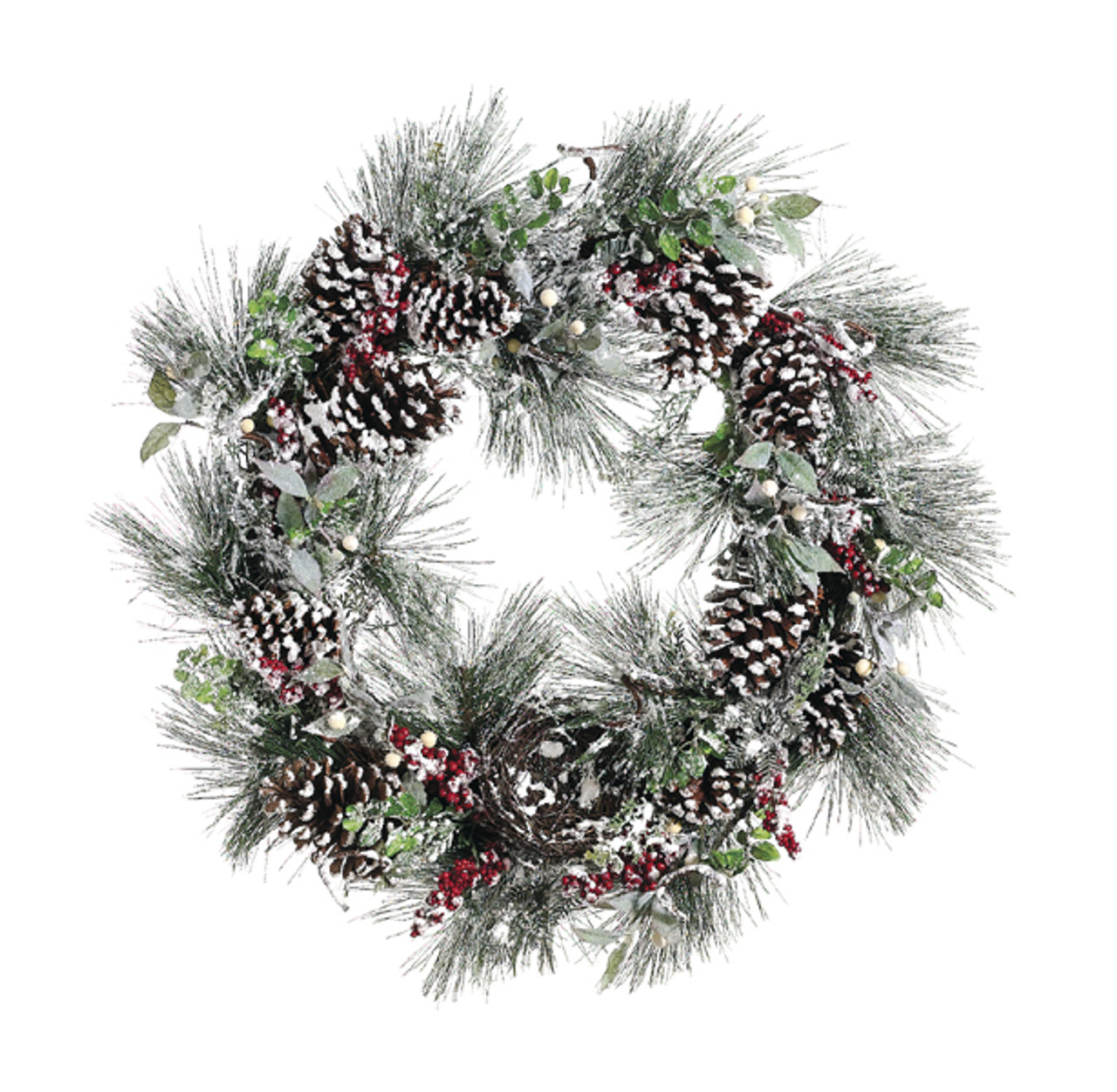 31 frosted pine cone berry christmas grapevine wreath 6078372 - Grapevine Garland Christmas Decorations