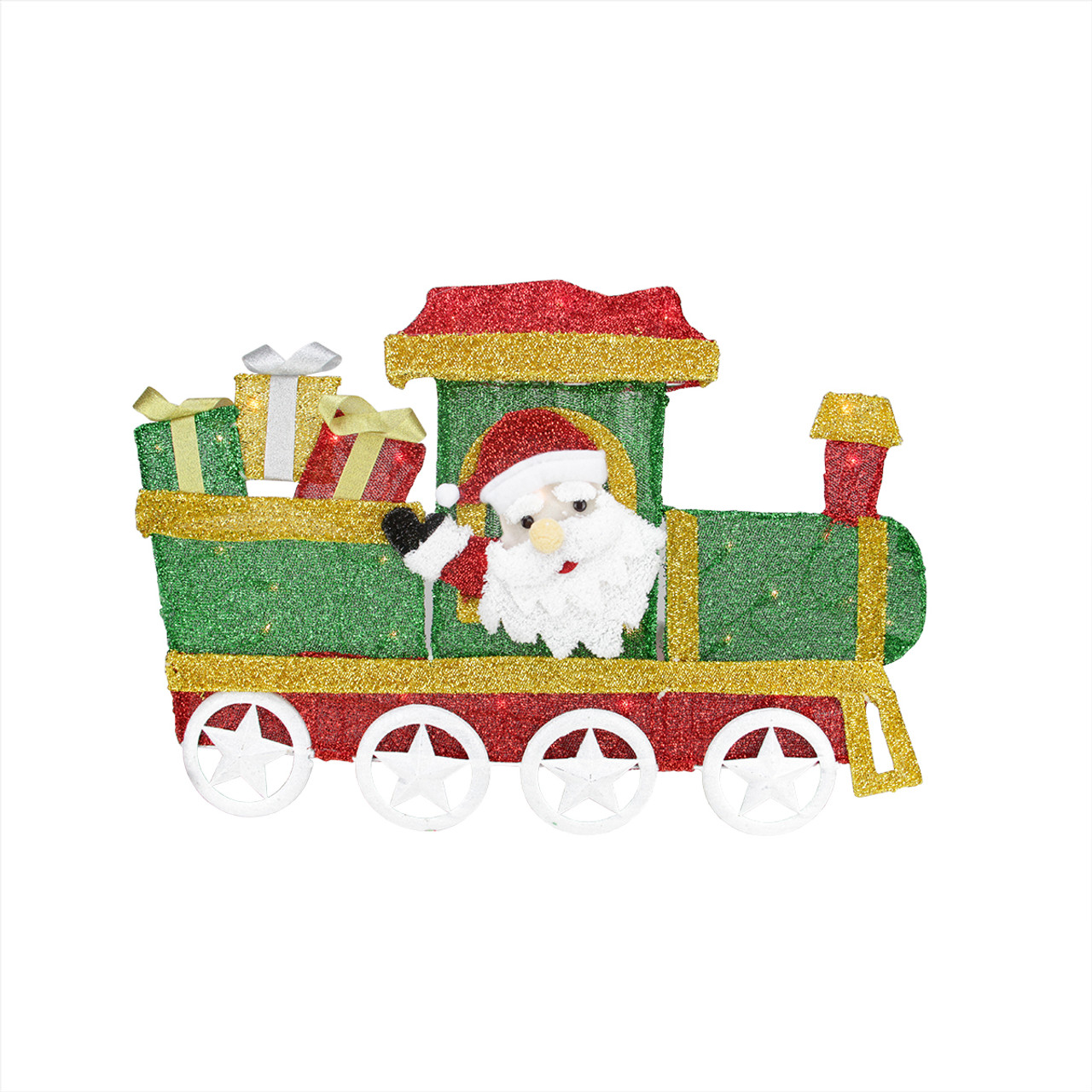 30 lighted tinsel choo choo train locomotive with santa claus christmas outdoor decoration 31458121 - Santa Train Outdoor Christmas Decoration