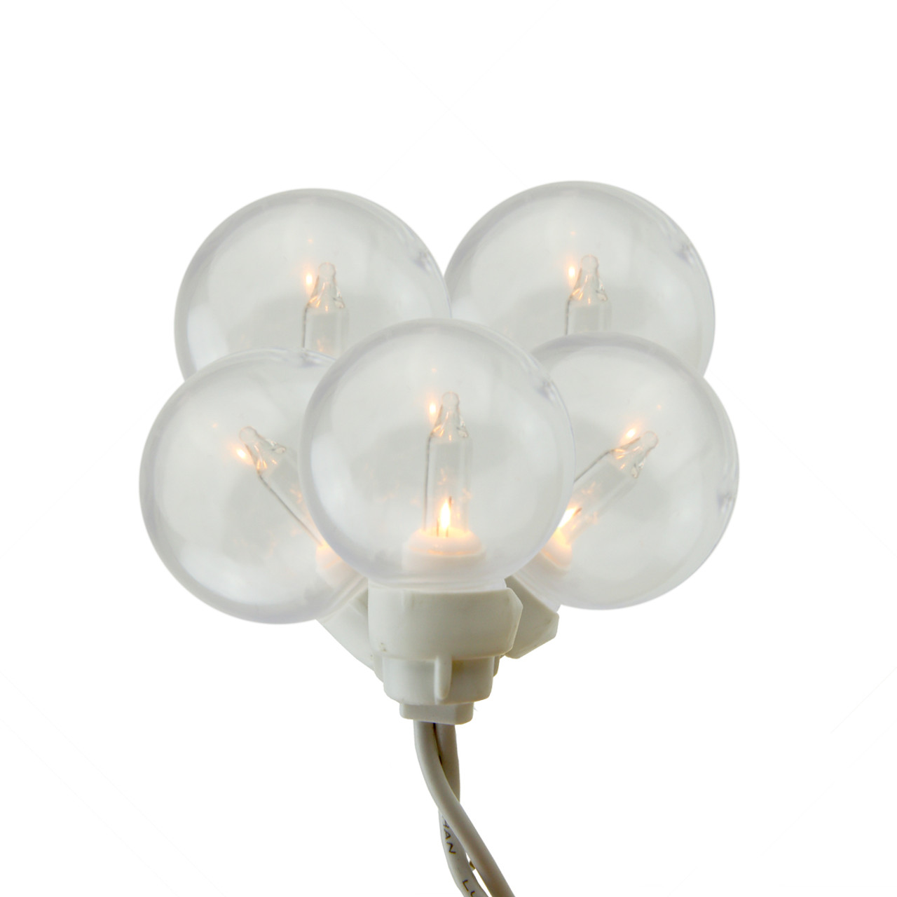 Set of 100 Clear G30 Globe Icicle Christmas Lights - White Wire ...