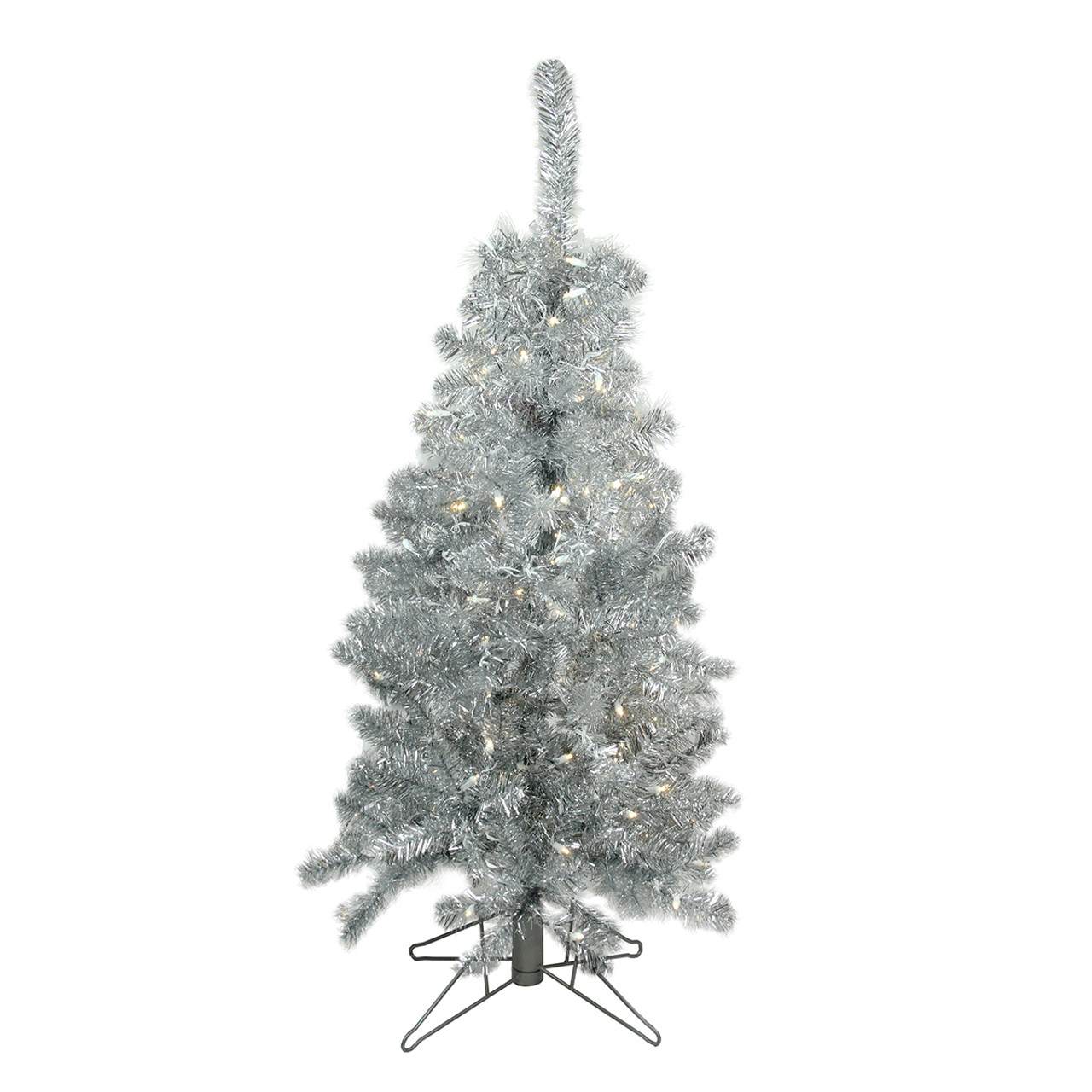 4 pre lit medium silver tinsel artificial christmas tree clear lights 31749134 - Silver Tinsel Christmas Tree
