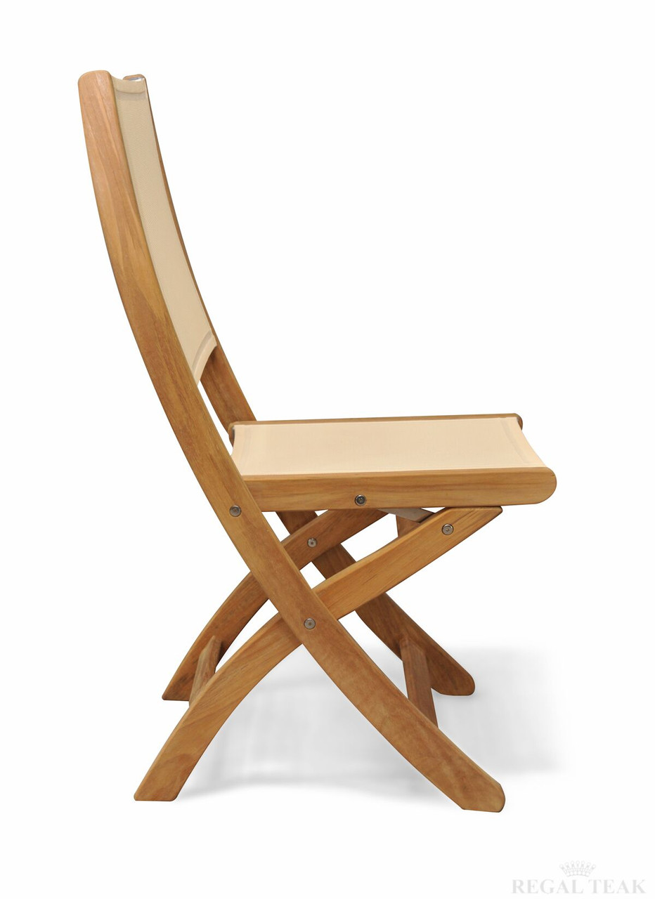 Delicieux Set Of 2 Natural Teak Outdoor Patio Folding Dining Chairs With Cream  Batyline Fabric   30930994