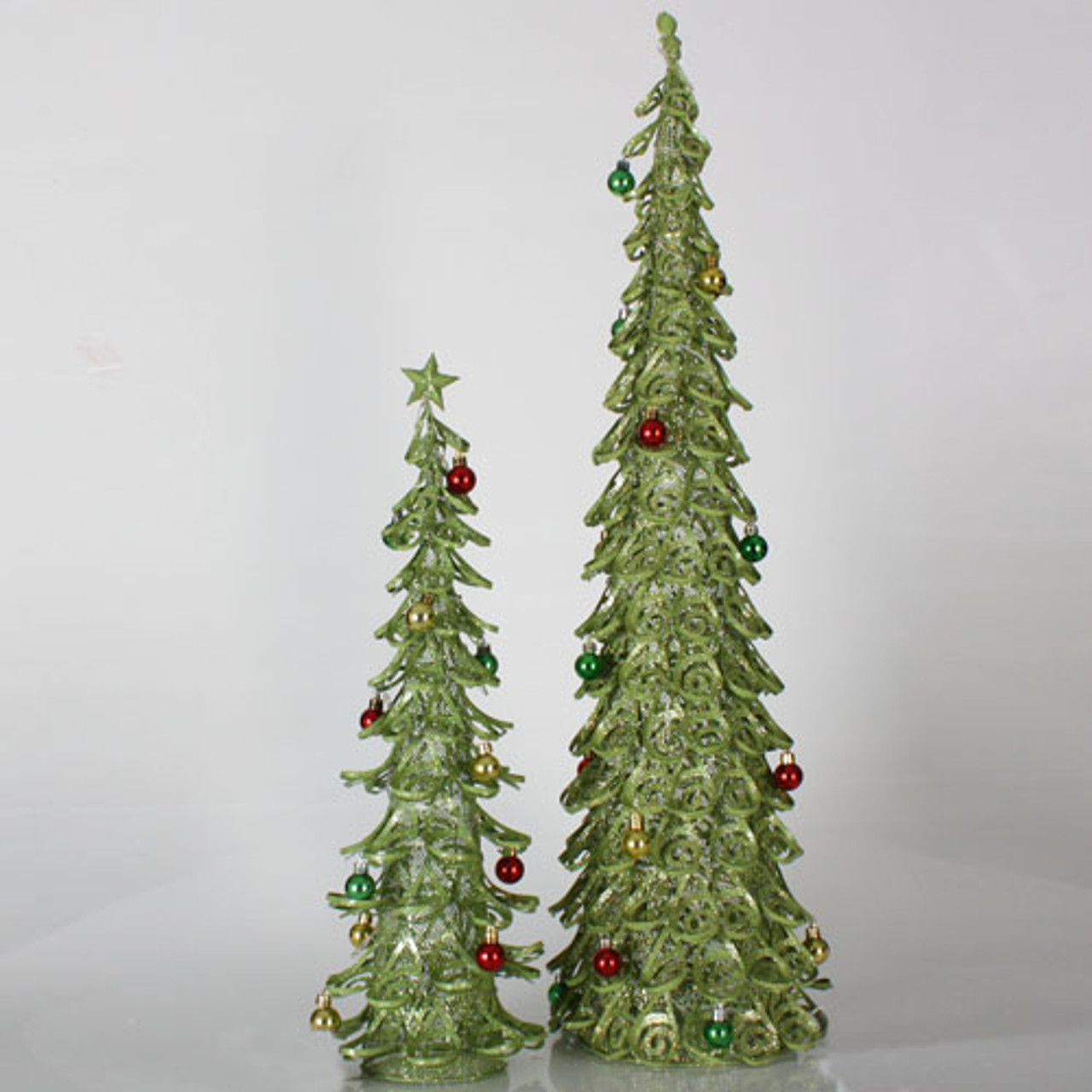 set of 2 christmas brights lime green glitter mesh christmas trees 2 3 21294386 - Lime Green Christmas Tree