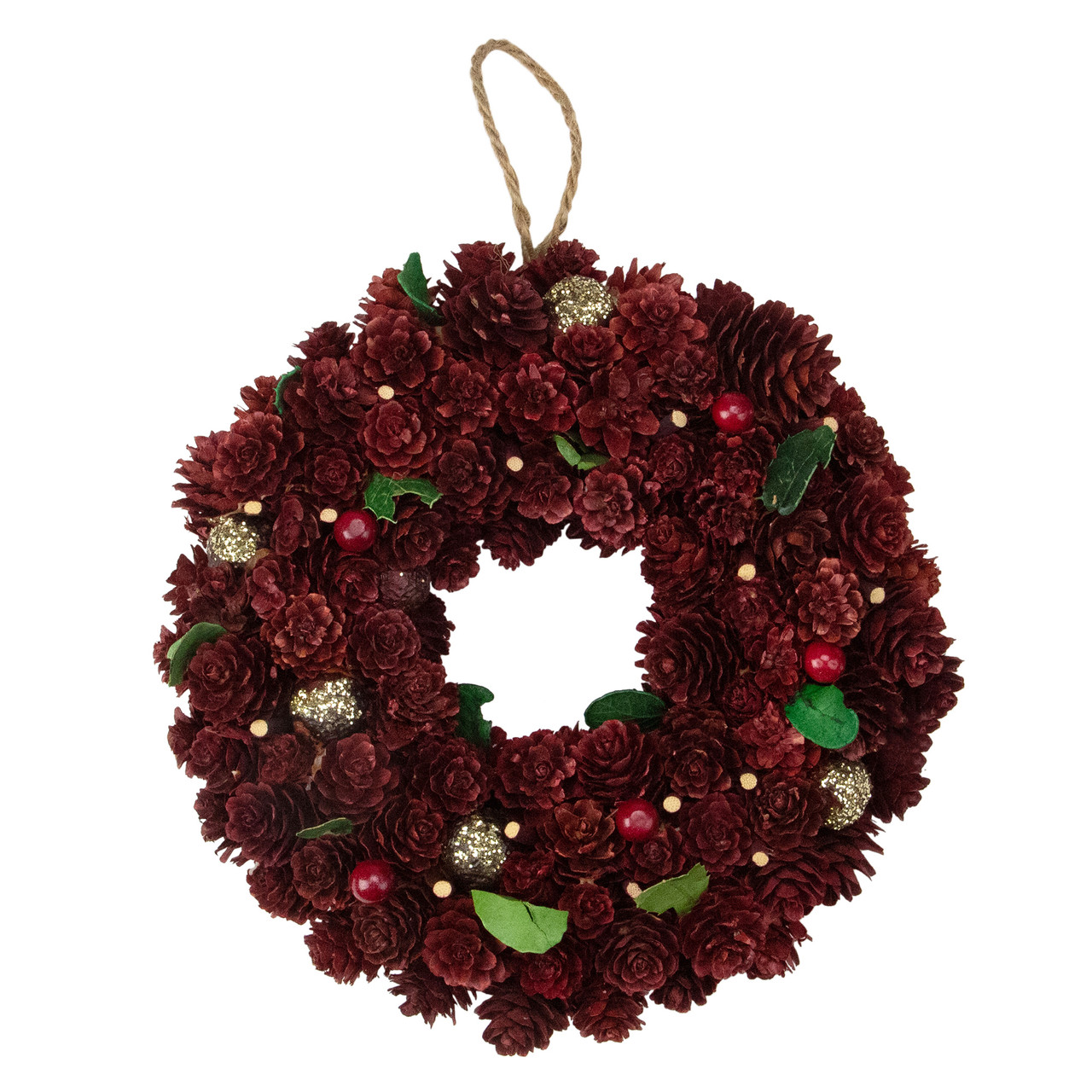 95 wine burgundy and gold glitter pine cone artificial christmas wreath unlit 31742386