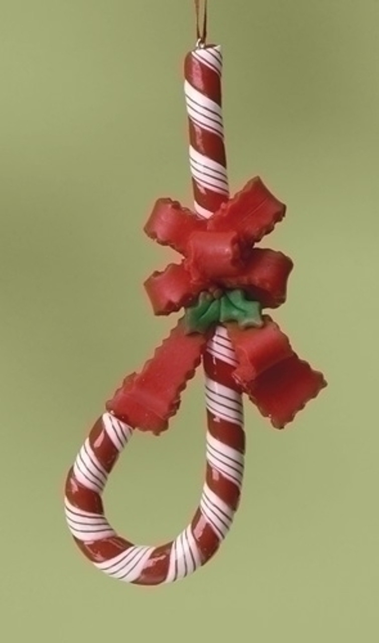 J Shape Upside Down Candy Cane For Jesus with Bow Christmas Ornament ...