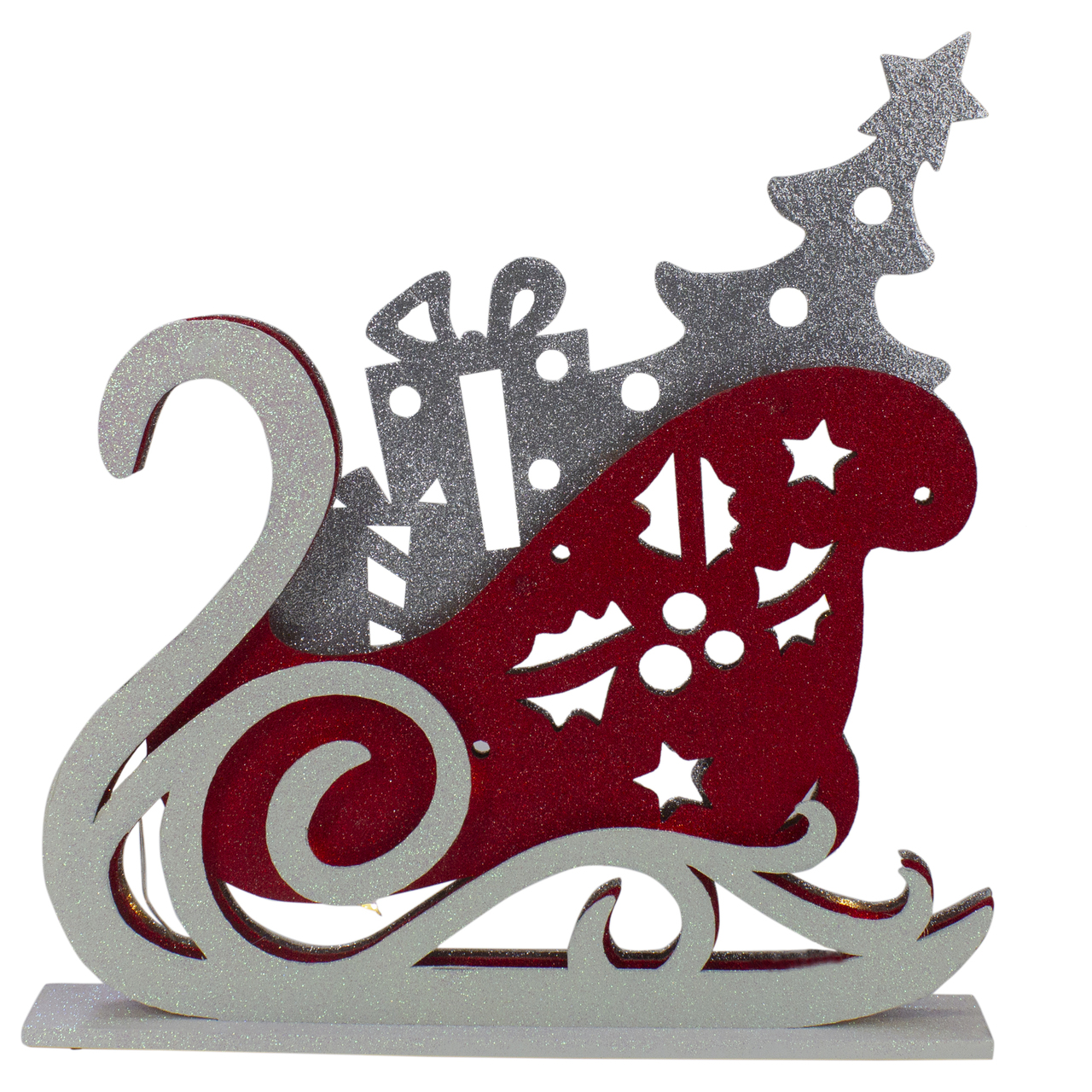 18 red white and silver led lighted sleigh silhouette table top christmas decoration 31466893