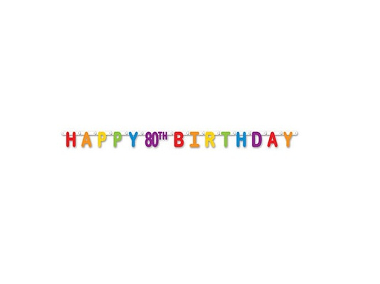 Pack Of 12 Colorful Jointed Happy 80th Birthday Banner Hanging Party Decorations 66