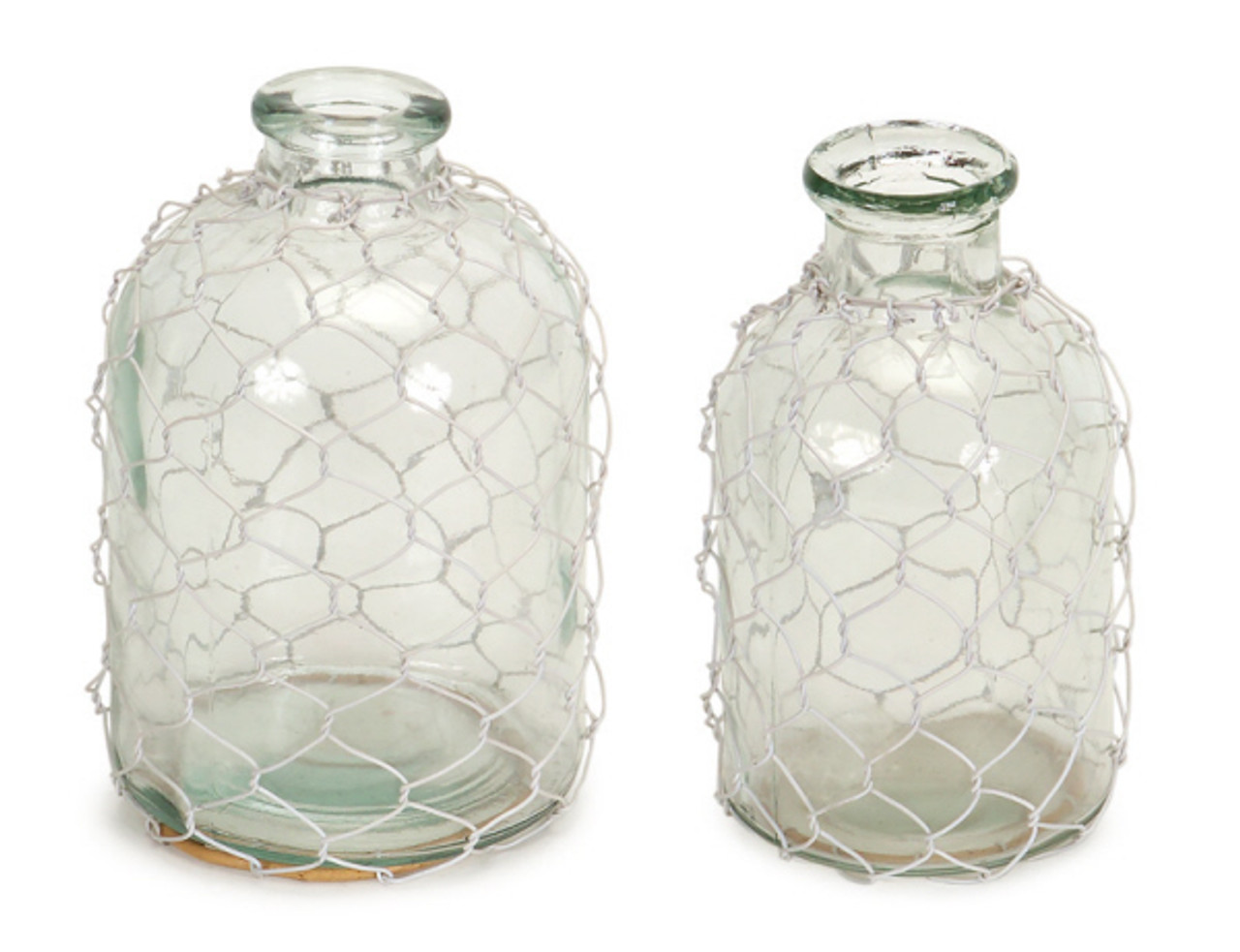 Set of 2 Clear Gl with Wire Netting Decorative Bottle Vases 7 ... Decorative Clear Vases on decorative big vase, decorative white vase, decorative large vase, decorative metal vase, decorative dark green vase, decorative blue vase, decorative black vase, decorative clear glass,