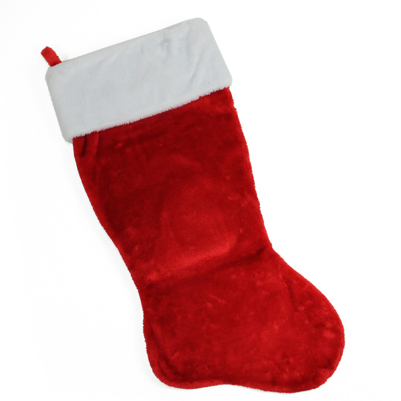 35 traditional red with white cuff decorative plush christmas stocking 32266839 - Red And White Christmas Stockings