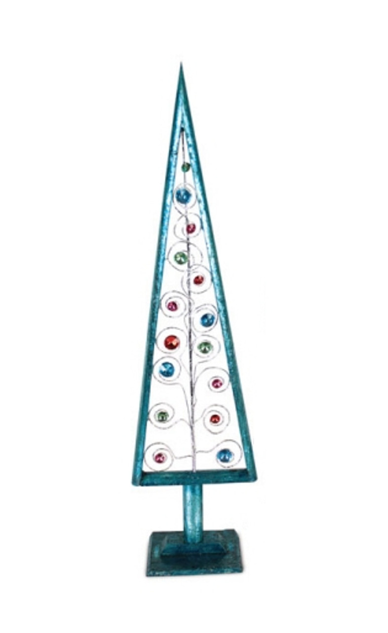 235 turquoise blue tabletop christmas tree with multi colored jewels 30656974 - Jewel Colored Christmas Decorations