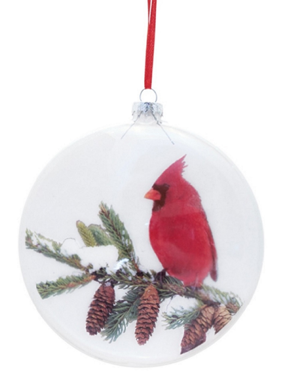 6 red cardinal on snowy pine branch glass disc christmas ornament 32271927